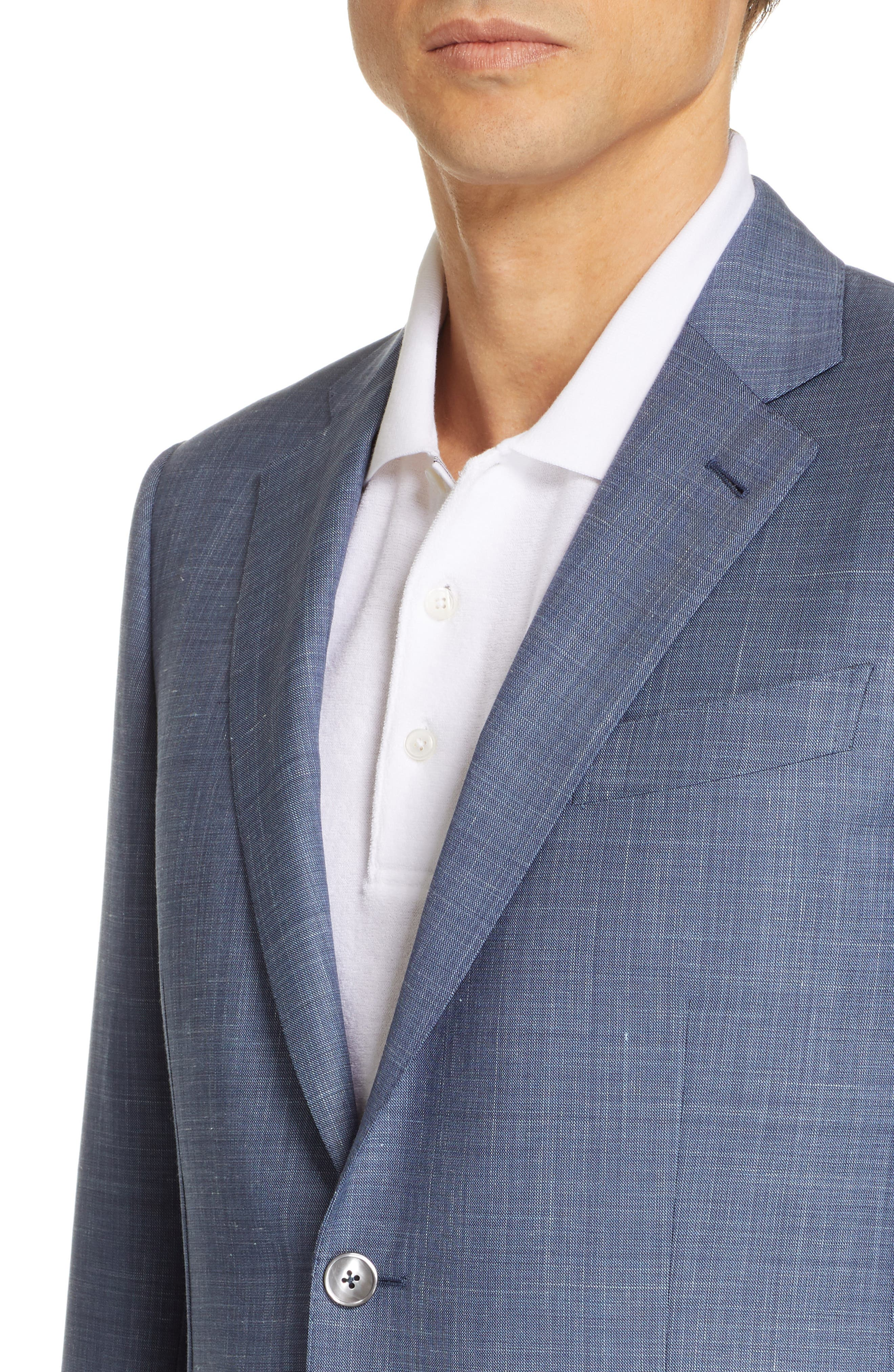 ERMENEGILDO ZEGNA, Trofeo Classic Fit Solid Wool Blend Suit, Alternate thumbnail 4, color, BLUE