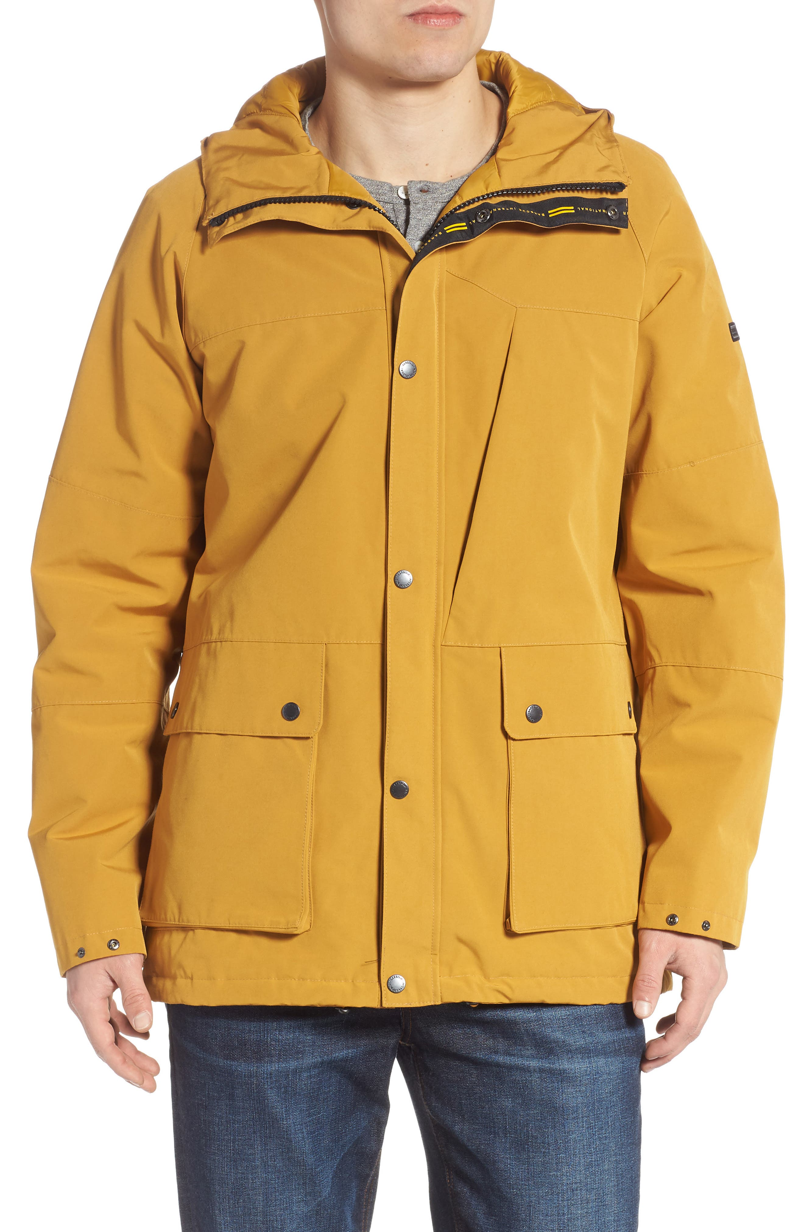 BARBOUR, Bi-Ridge Waterproof Hooded Jacket, Main thumbnail 1, color, YELLOW