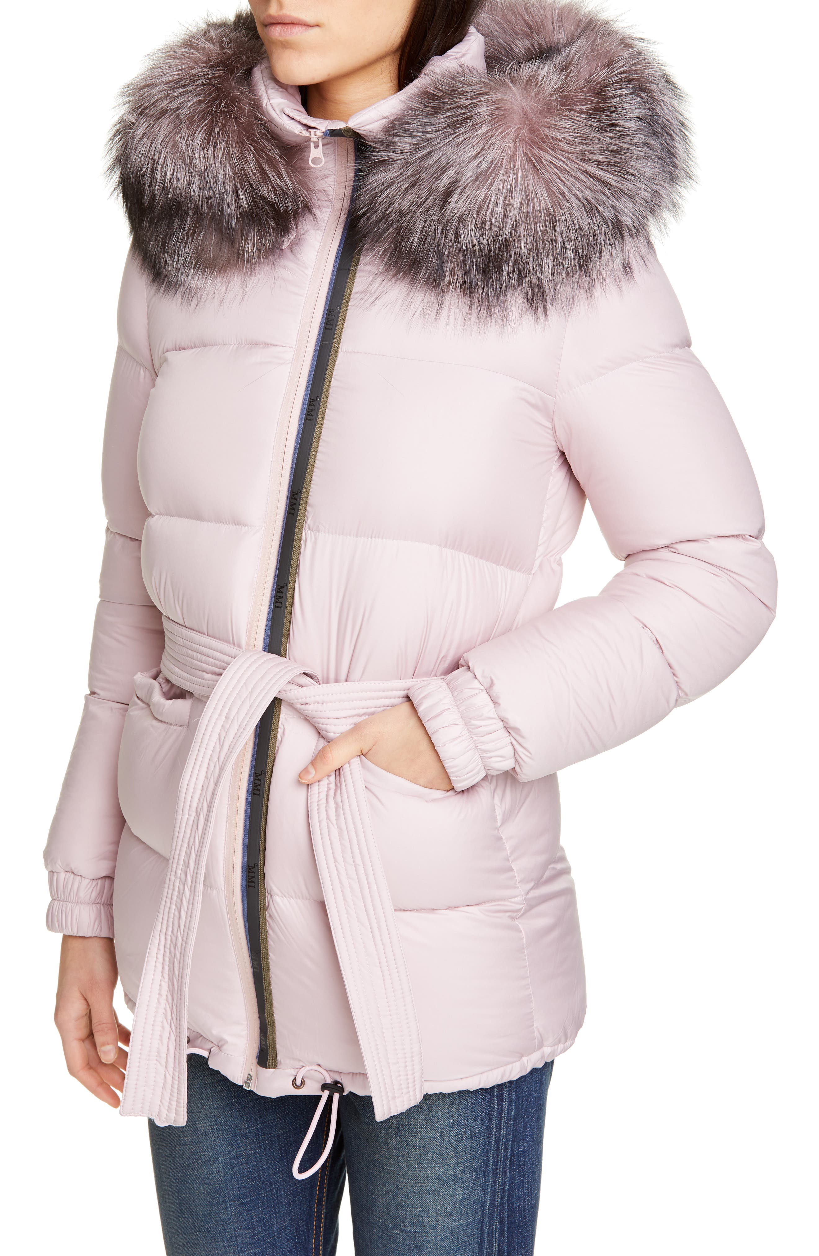 MR & MRS ITALY, Genuine Fox Fur Trim Quilted Down Puffer Coat, Alternate thumbnail 5, color, PINK