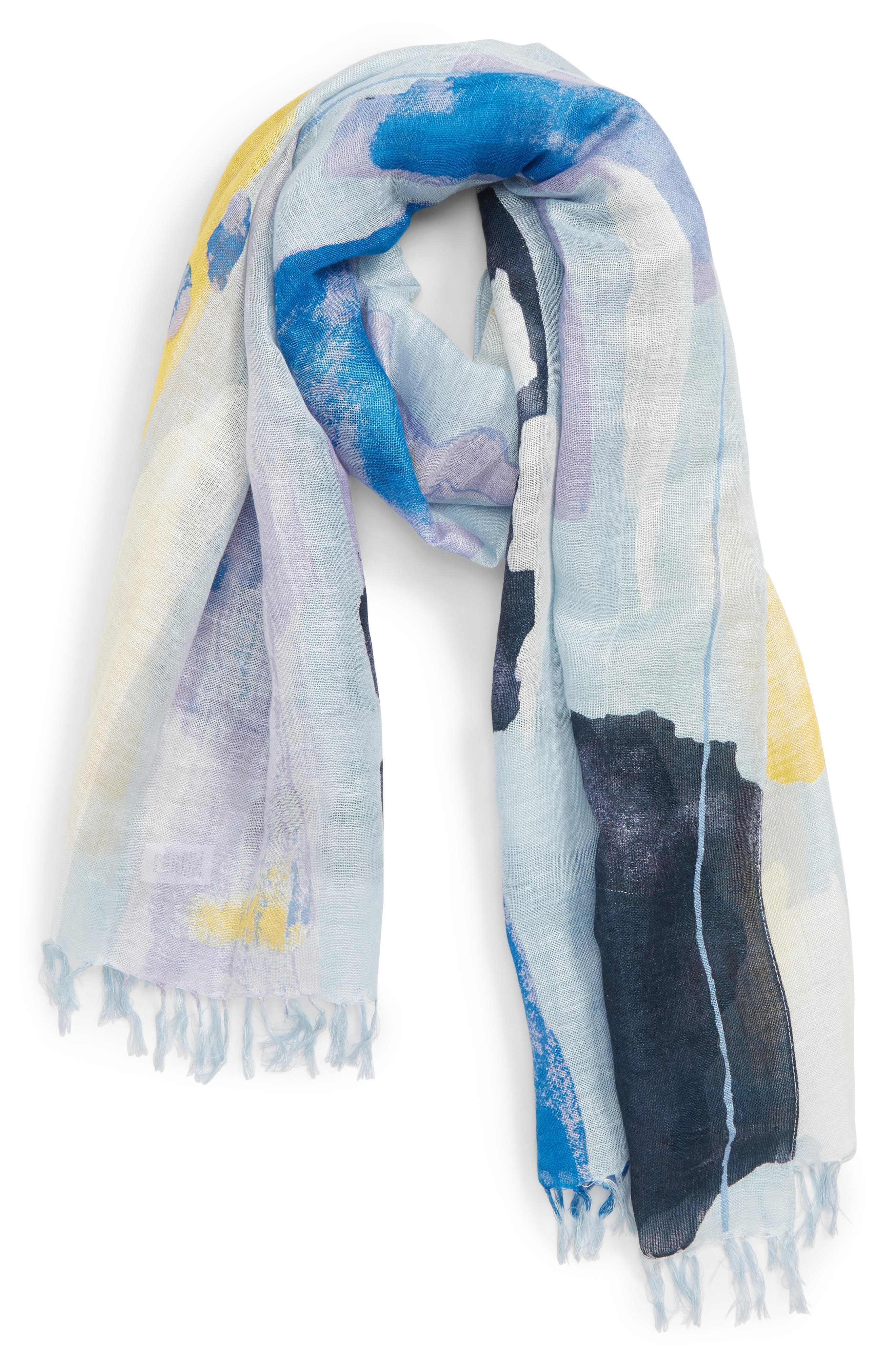 NORDSTROM, Painted Linen Blend Scarf, Alternate thumbnail 2, color, BLUE PAINT PLAY
