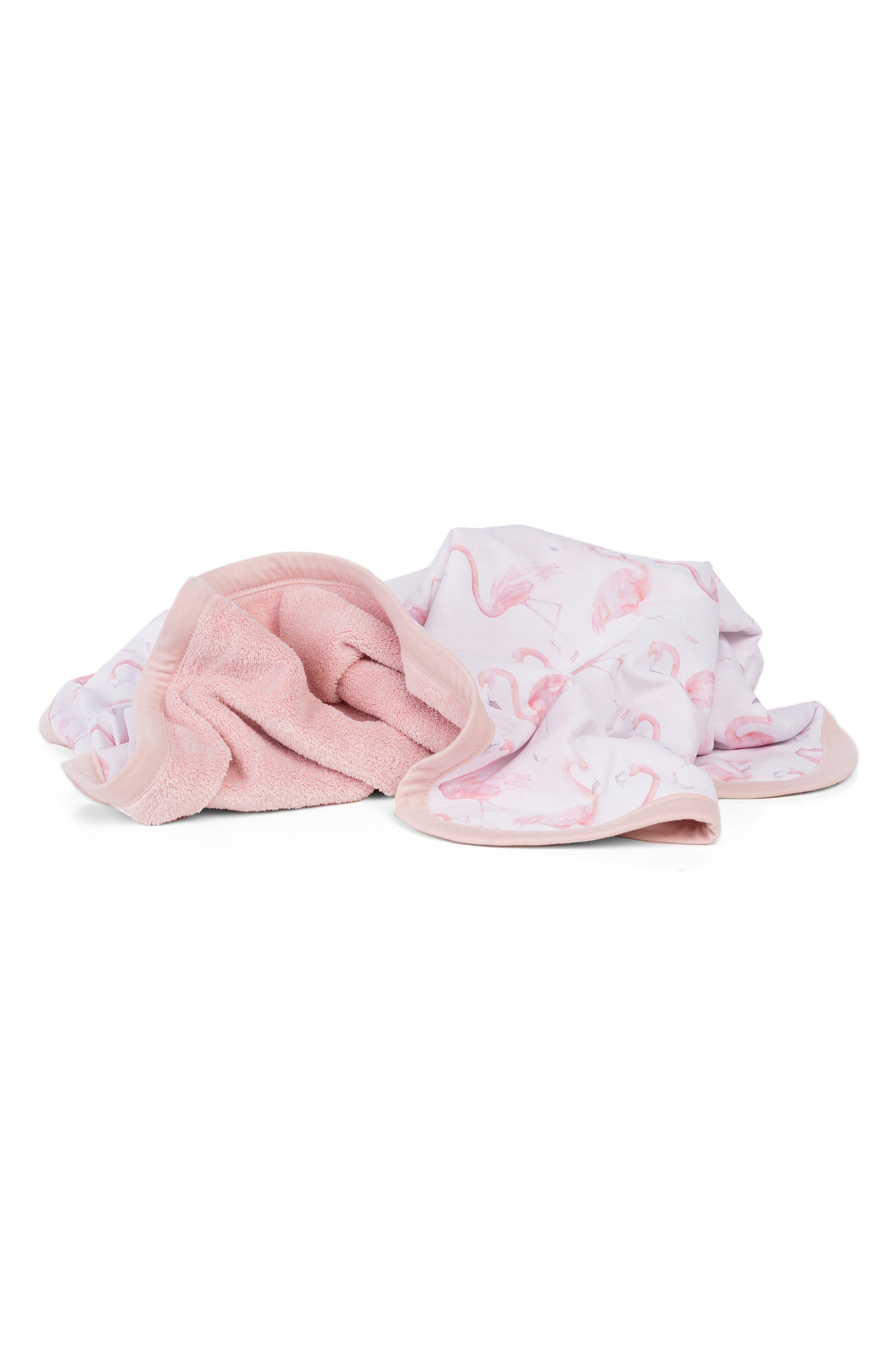 OILO, Flamingo Cuddle Blanket, Main thumbnail 1, color, BLUSH