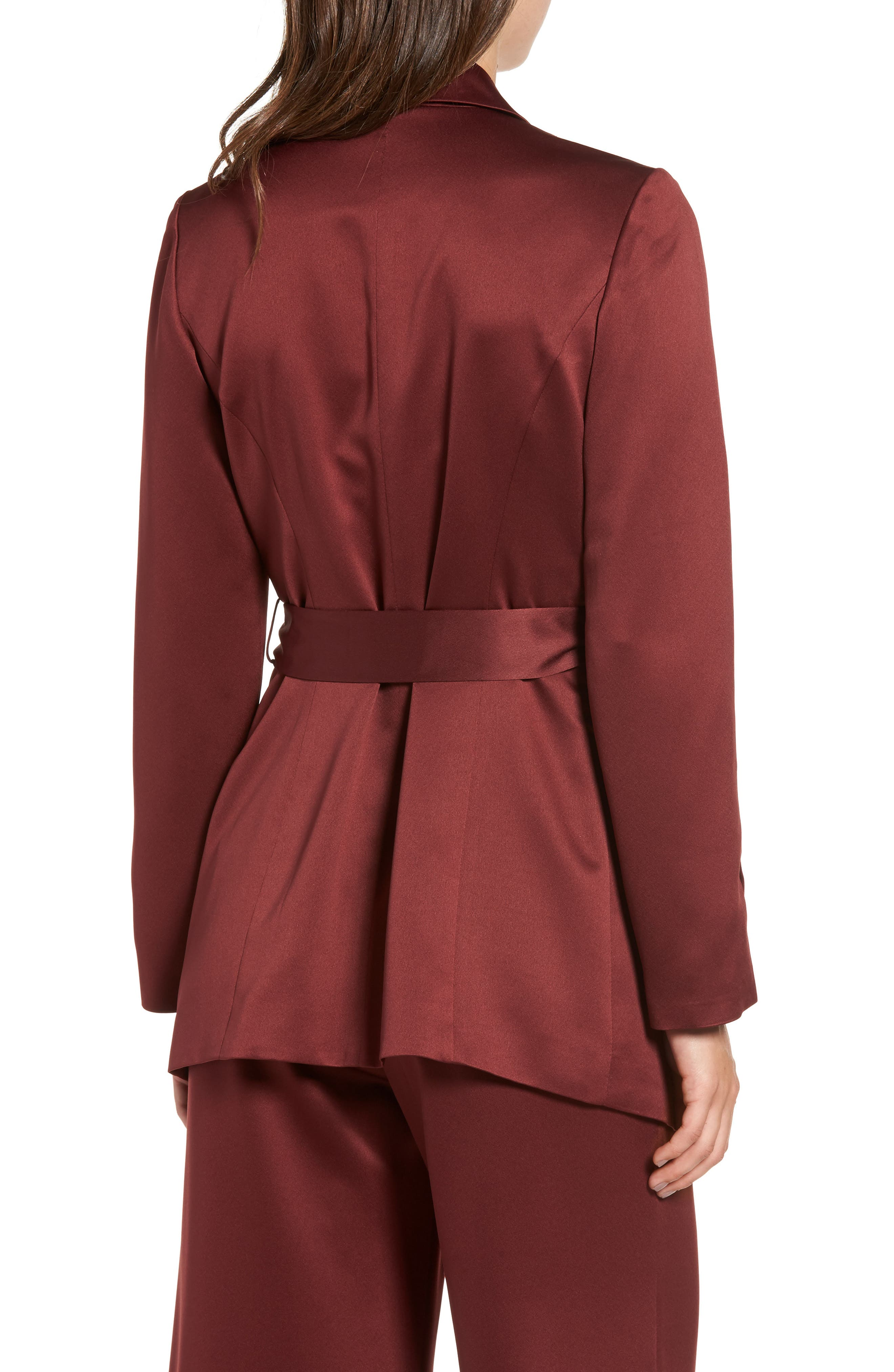 LEITH, Belted Satin Jacket, Alternate thumbnail 2, color, 601