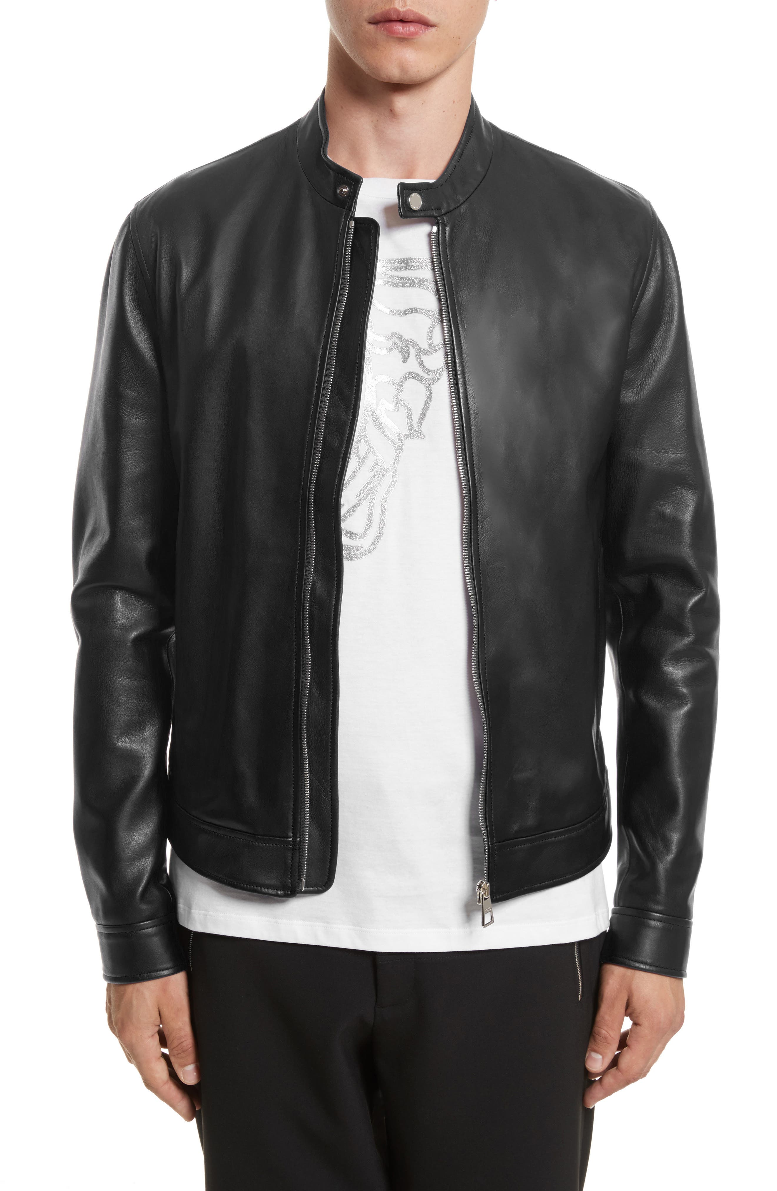 VERSACE COLLECTION, Café Racer Leather Jacket, Main thumbnail 1, color, 130