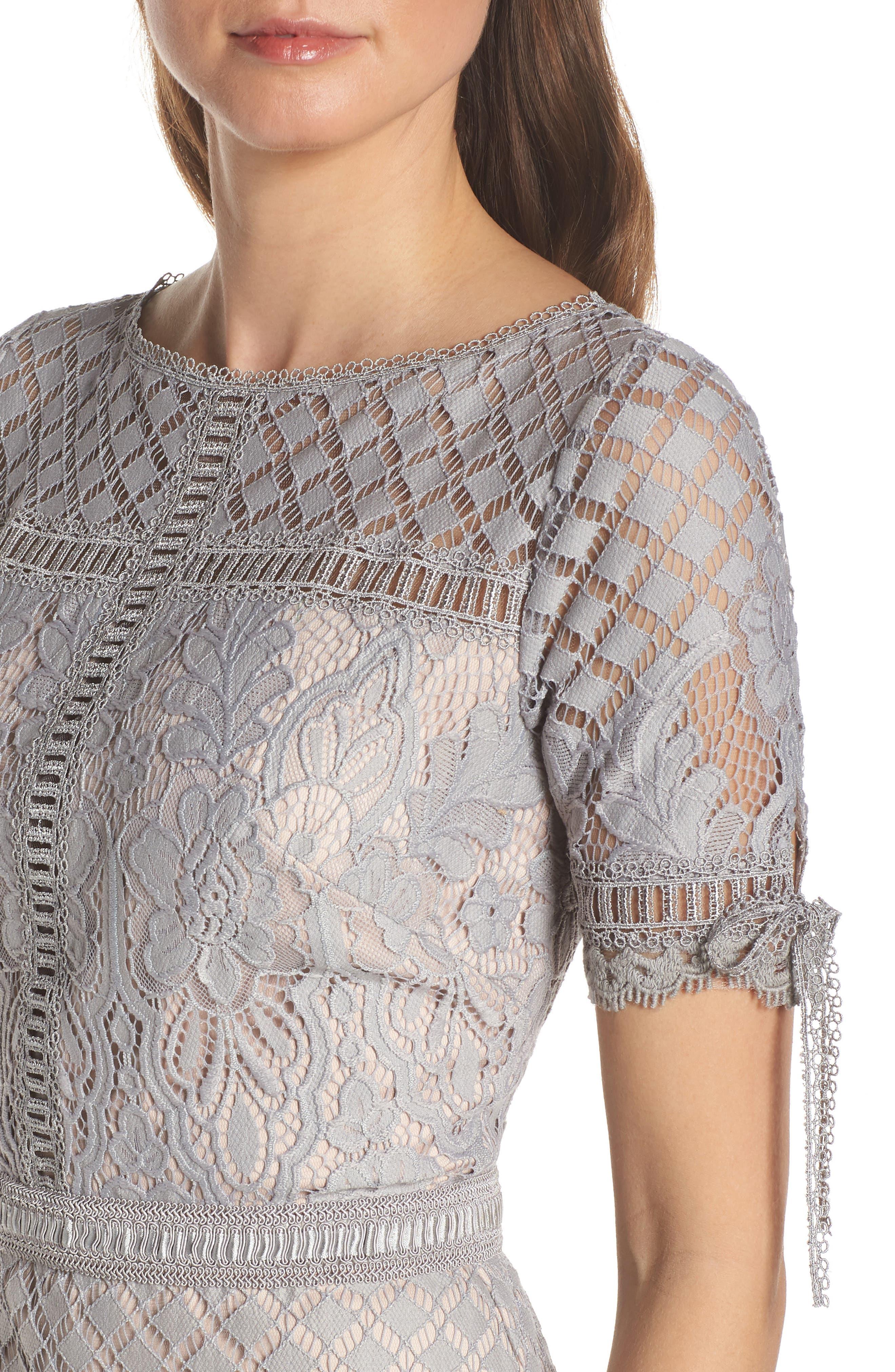 TADASHI SHOJI, Tie Sleeve Lace Sheath Dress, Alternate thumbnail 5, color, PEWTER/ PETAL