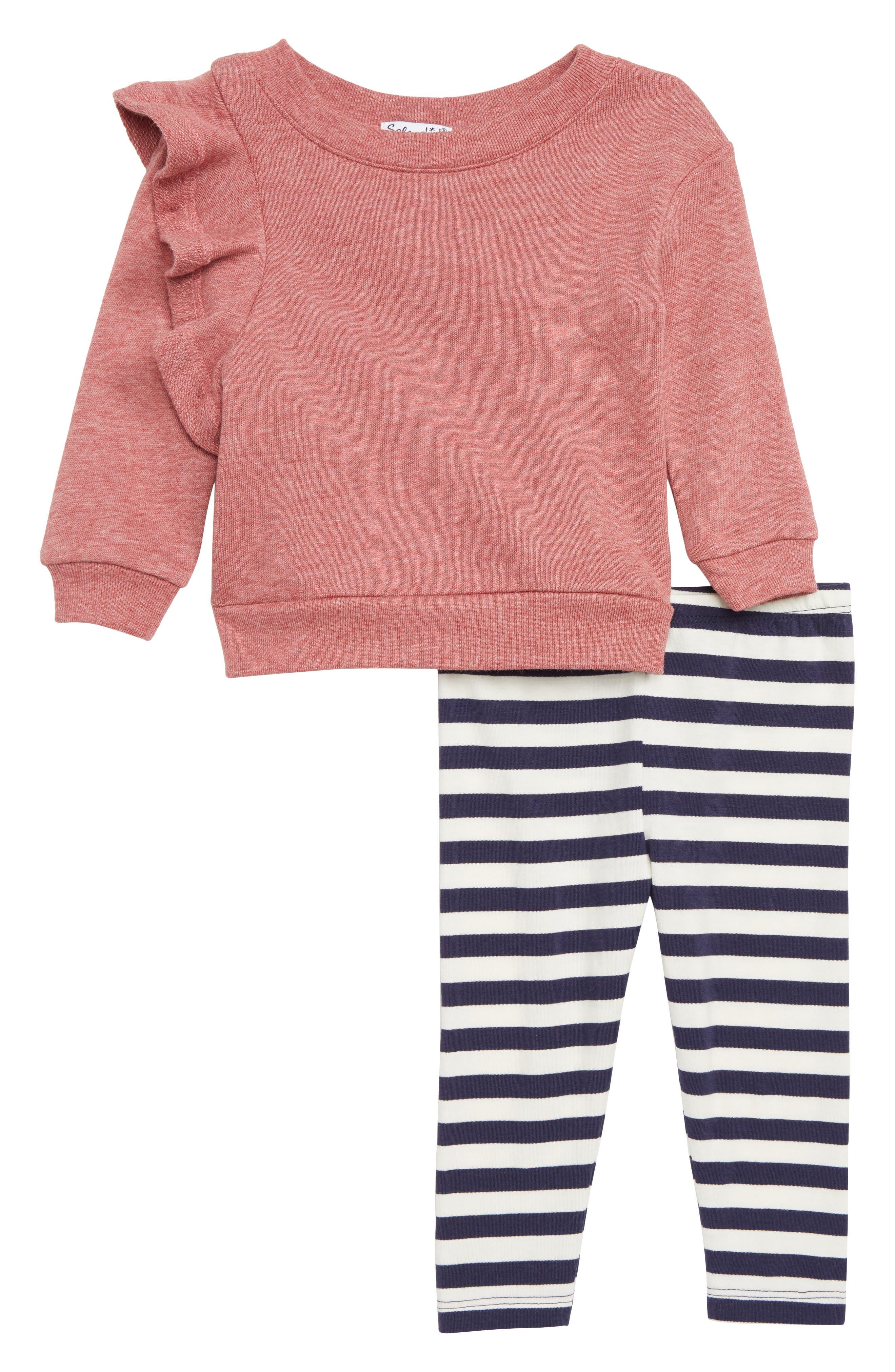 SPLENDID, Ruffle Sweatshirt & Stripe Leggings Set, Main thumbnail 1, color, 650