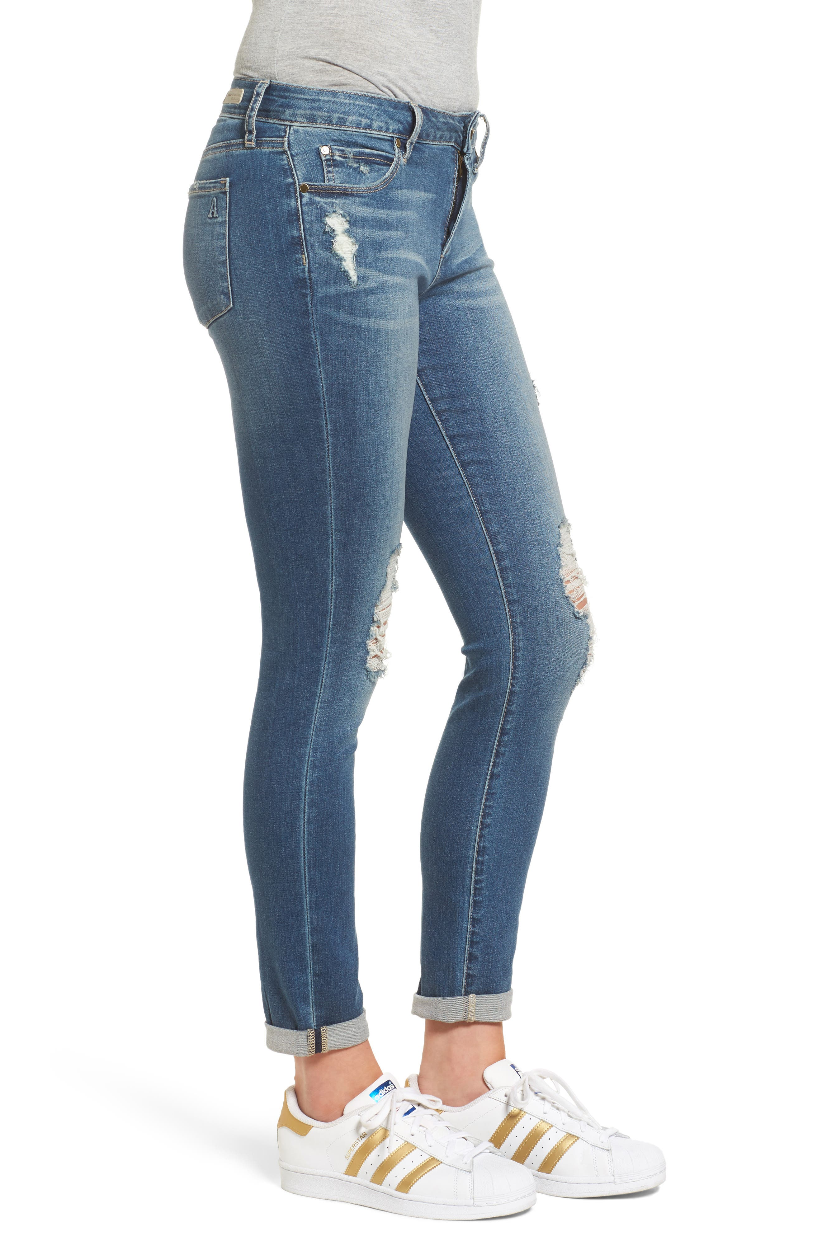ARTICLES OF SOCIETY, Karen Ripped Crop Skinny Jeans, Alternate thumbnail 3, color, 400