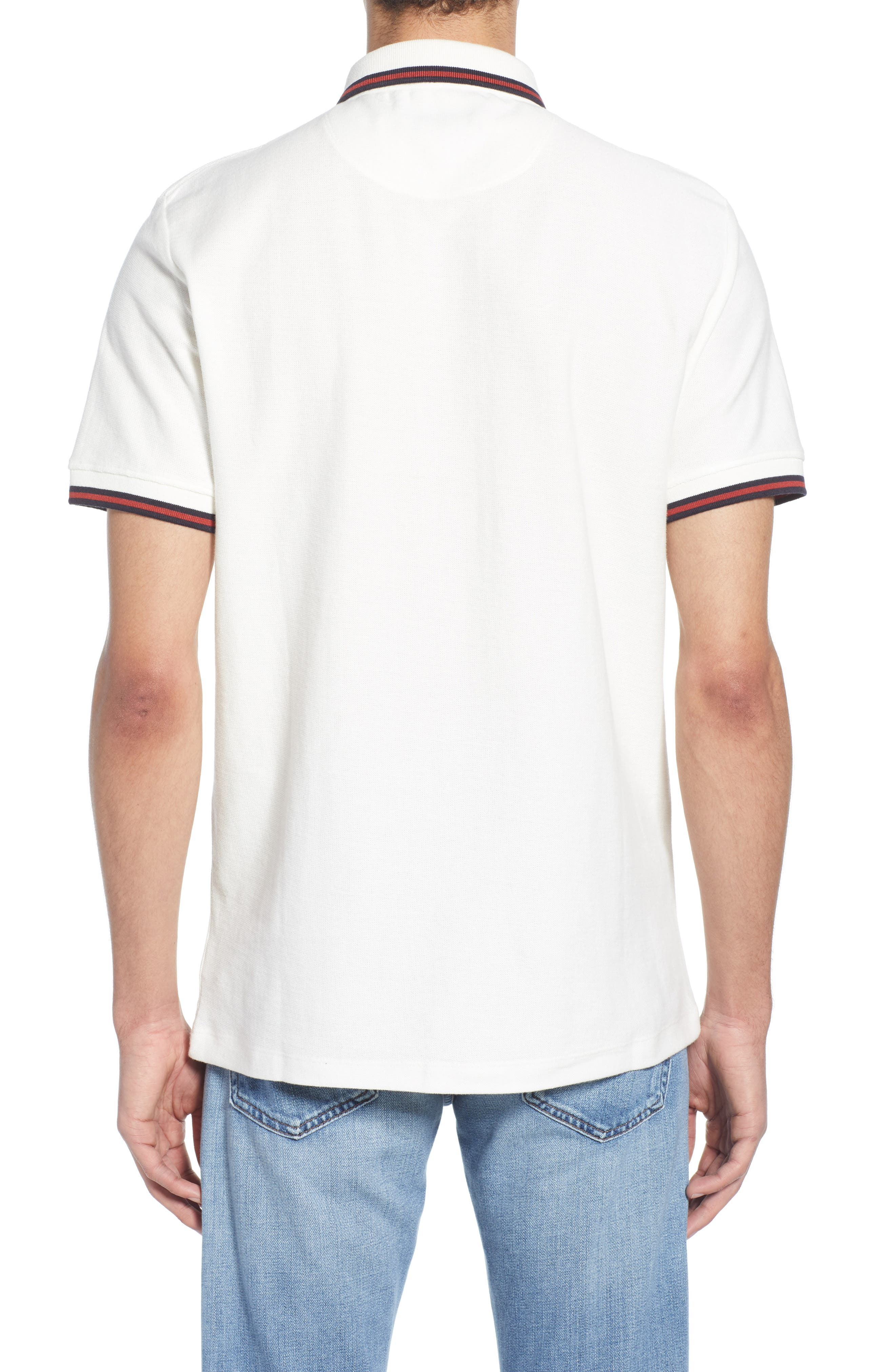 FRENCH CONNECTION, Dobby Jersey Regular Fit Polo, Alternate thumbnail 2, color, MILK BRICK RED
