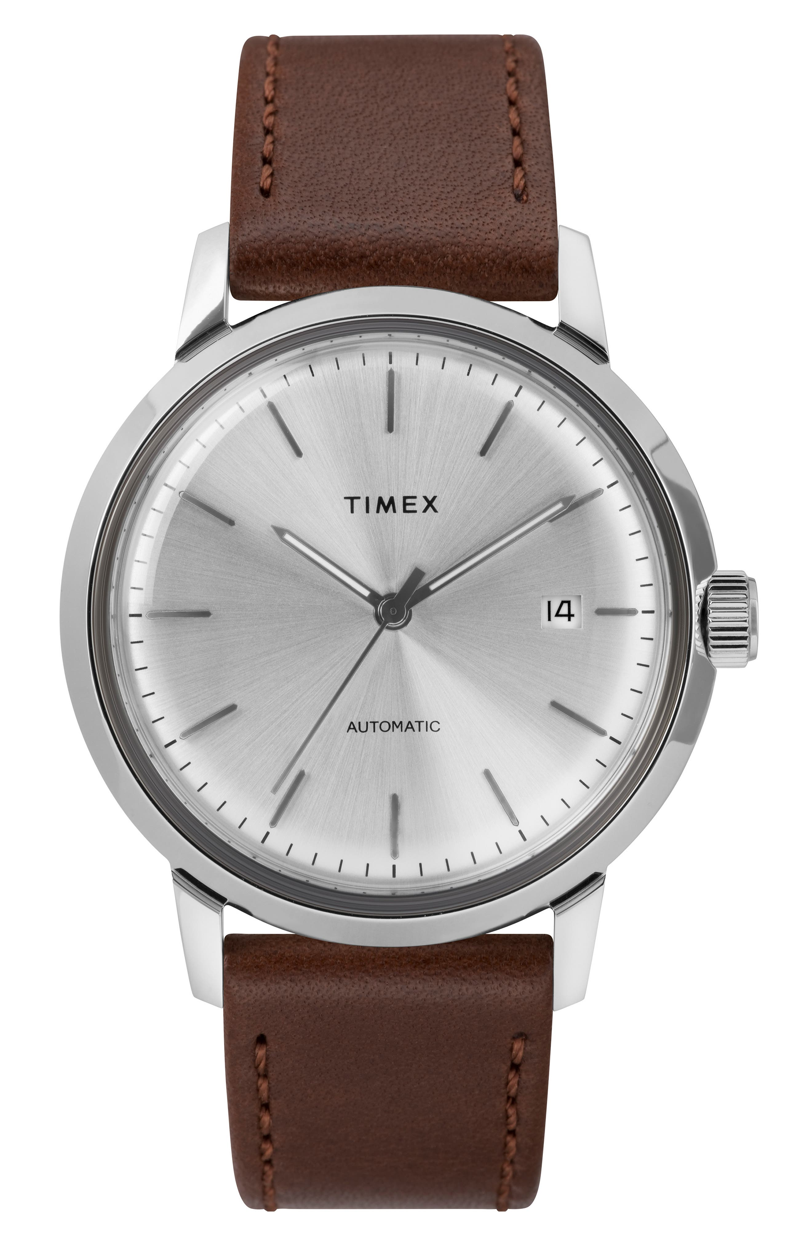 TIMEX<SUP>®</SUP>, Marlin Automatic Leather Strap Watch, 40mm, Main thumbnail 1, color, SILVER/ SILVER/ BROWN