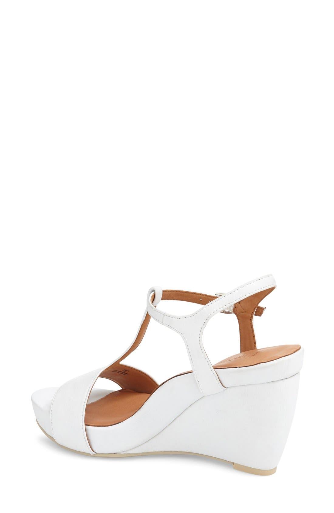L'AMOUR DES PIEDS, Idelle' Platform Wedge Sandal, Alternate thumbnail 2, color, WHITE LEATHER