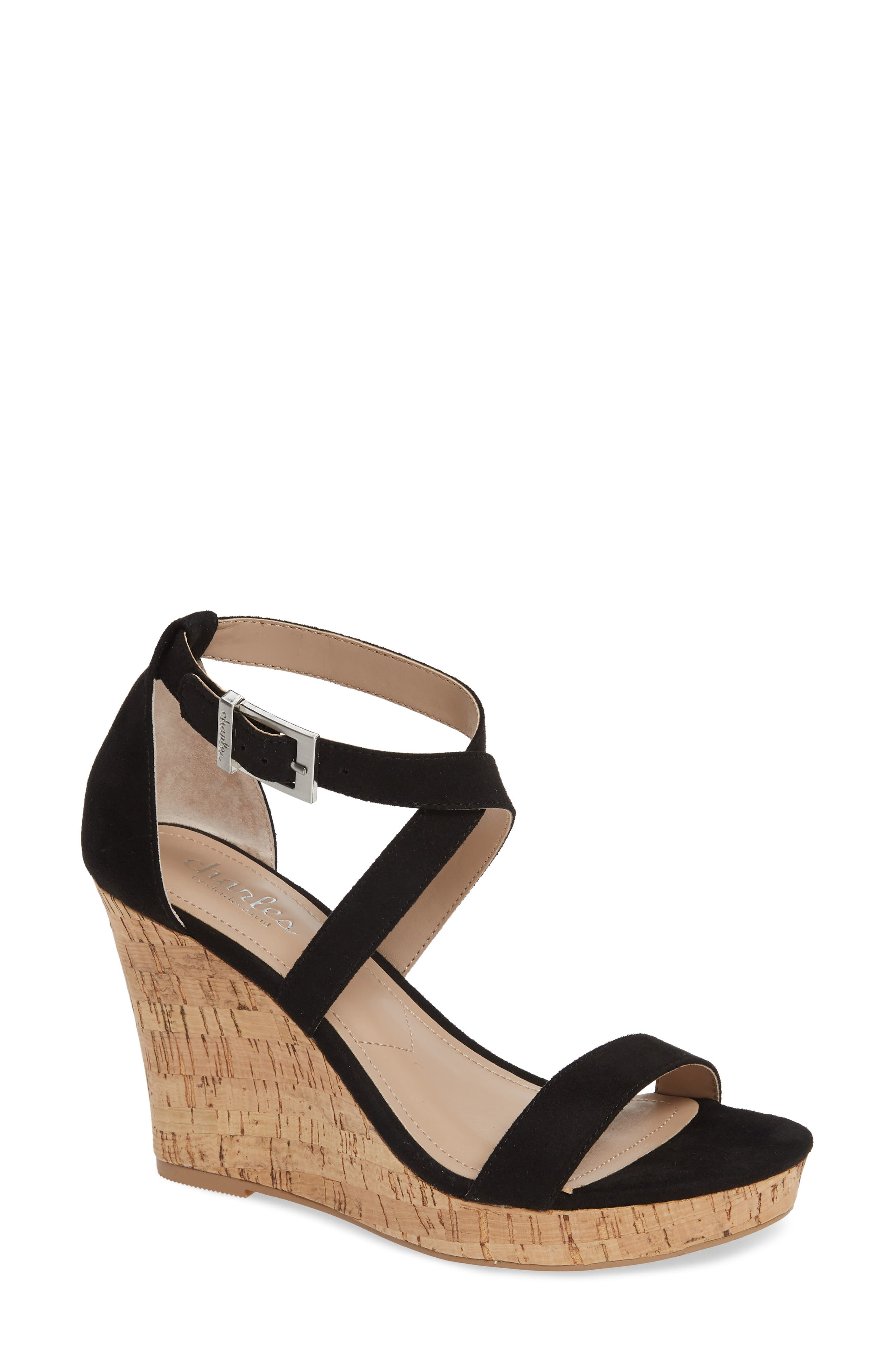 CHARLES BY CHARLES DAVID Launch Wedge Sandal, Main, color, BLACK FABRIC