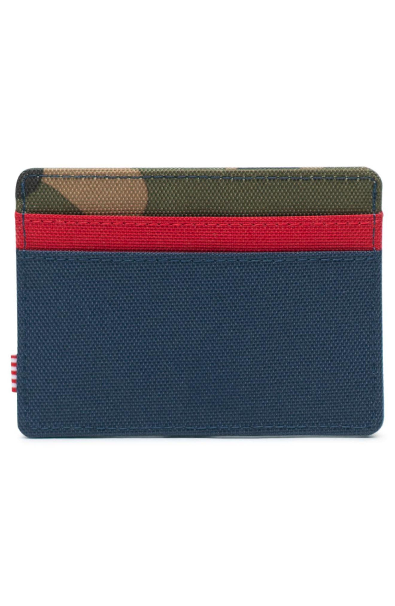 HERSCHEL SUPPLY CO., Charlie RFID Card Case, Alternate thumbnail 2, color, NAVY/ RED/ CAMO