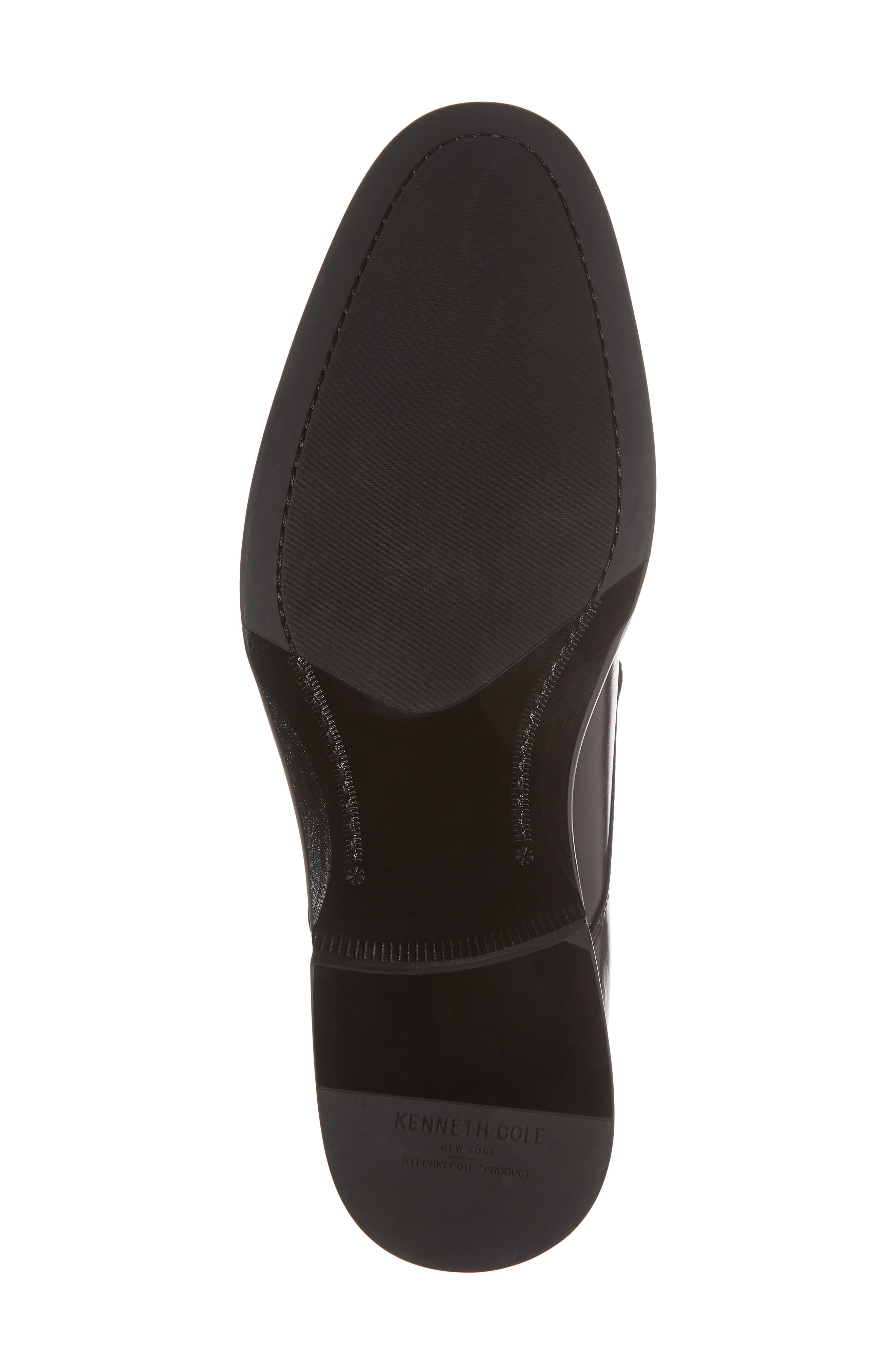 KENNETH COLE NEW YORK, Tully Apron Toe Derby, Alternate thumbnail 6, color, BLACK LEATHER