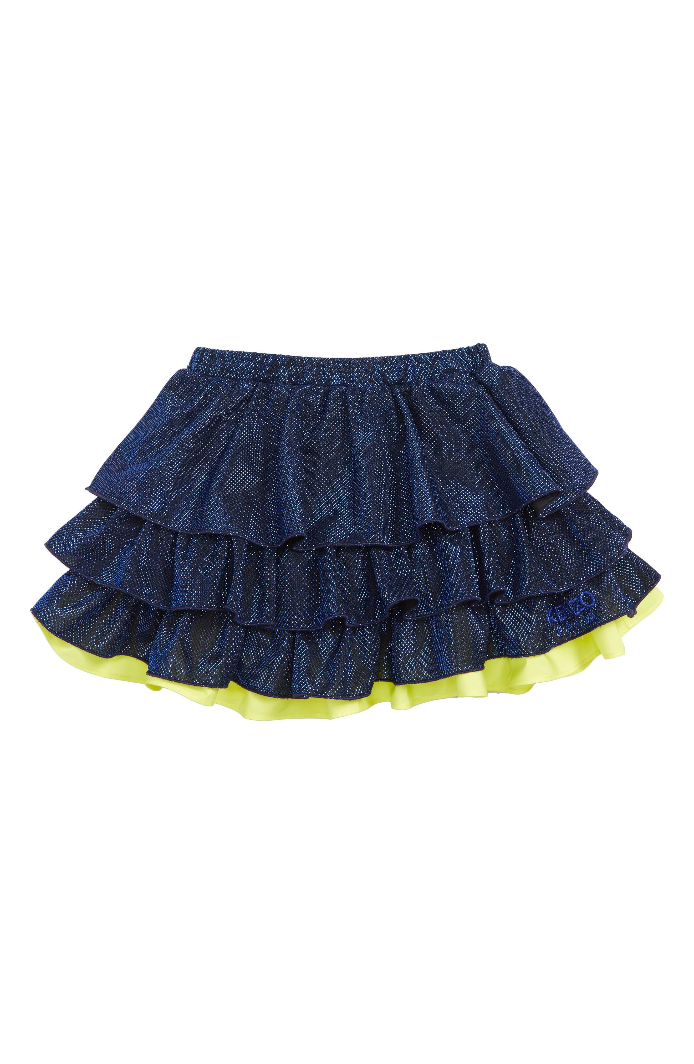 KENZO, Metallic Party Skirt, Main thumbnail 1, color, COBALT