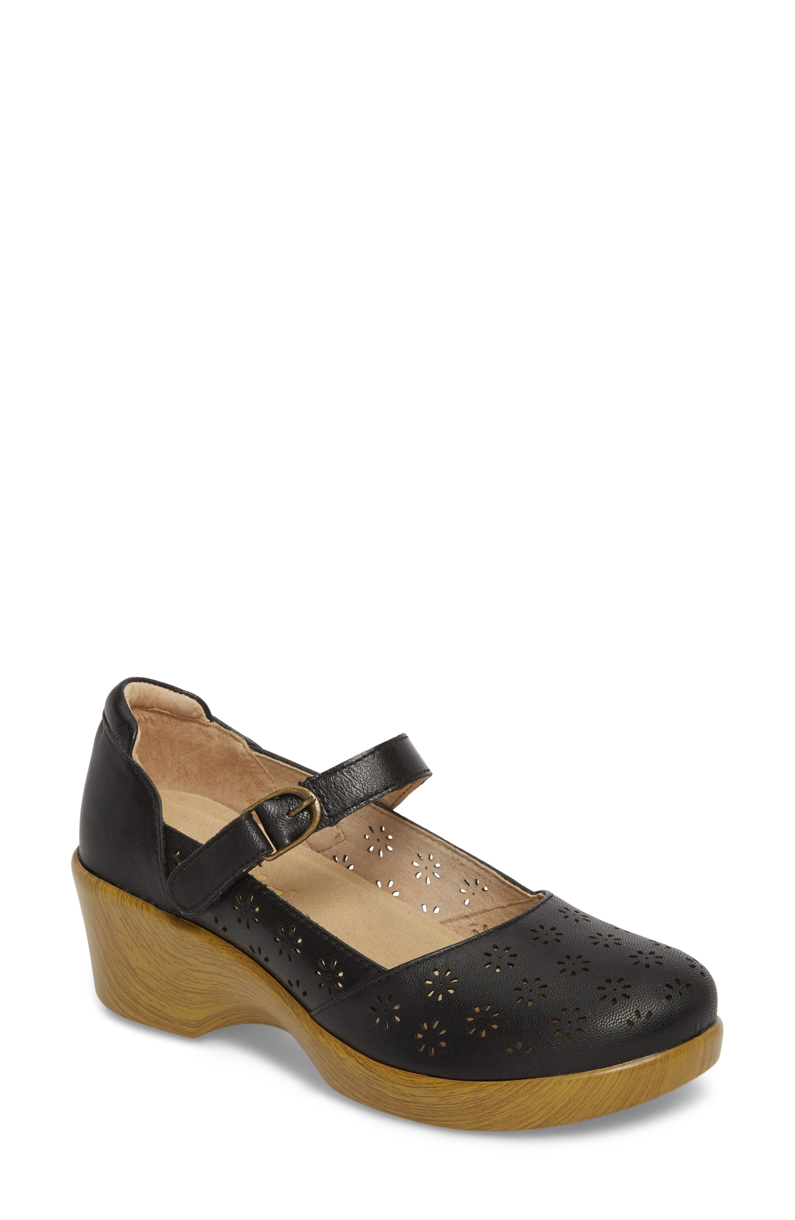 ALEGRIA by PG Lite Rene Mary Jane Shoe, Main, color, BLACK BURNISH LEATHER