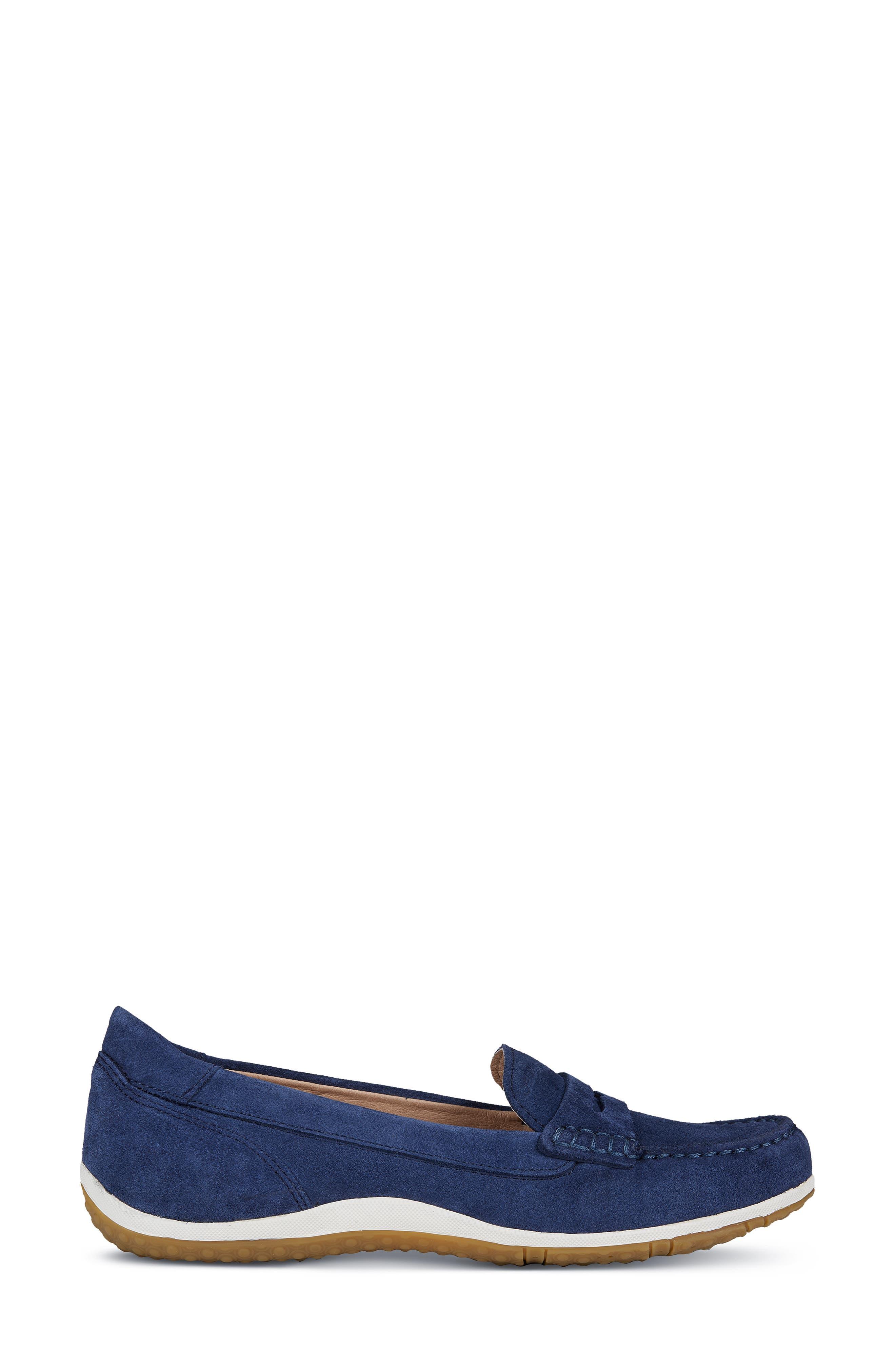 GEOX, Vega Moc Loafer, Alternate thumbnail 3, color, BLUE SUEDE