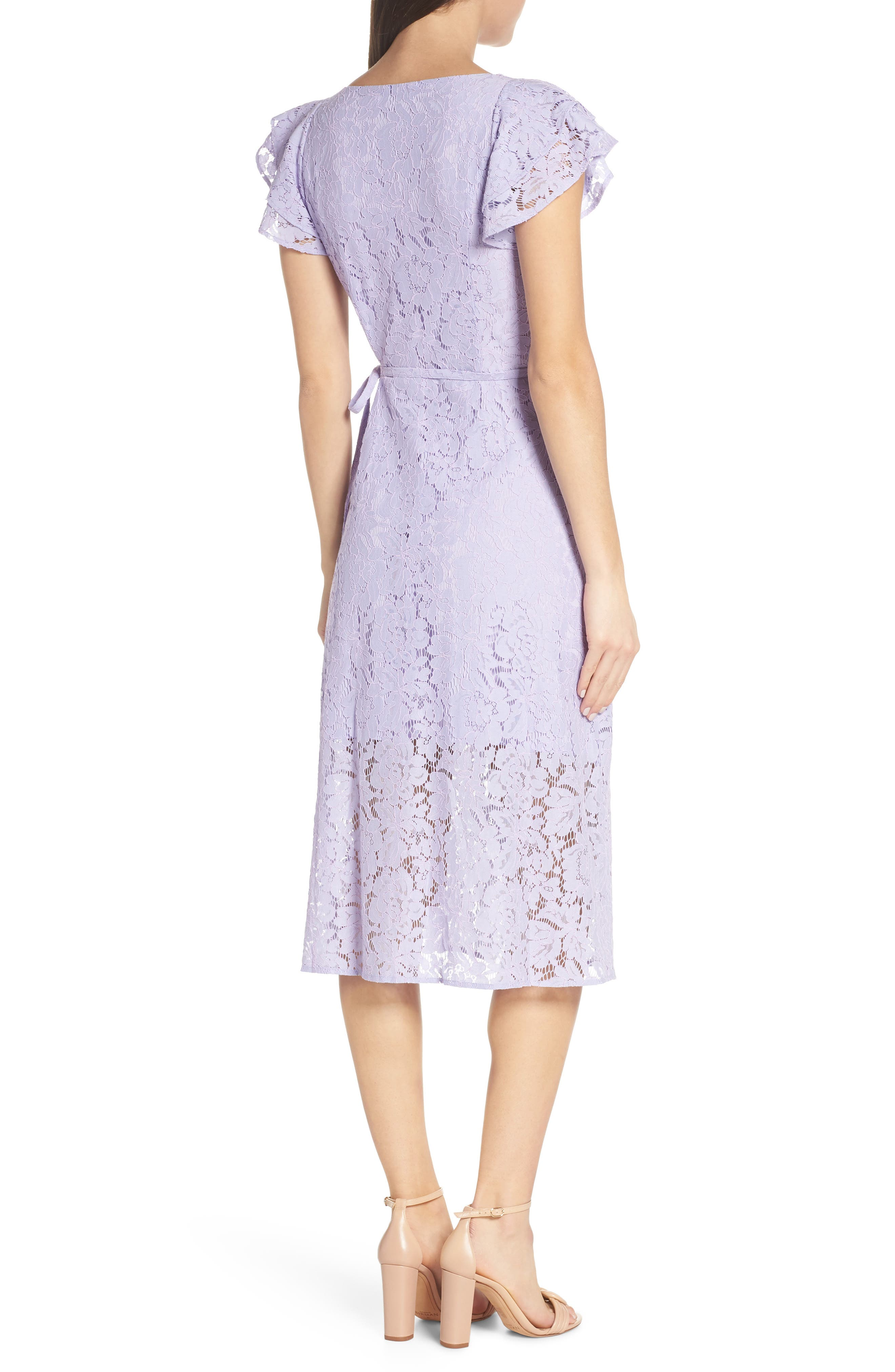 ALI & JAY, Ruffle Sleeve Wrap Lace Midi Dress, Alternate thumbnail 2, color, LAVENDER