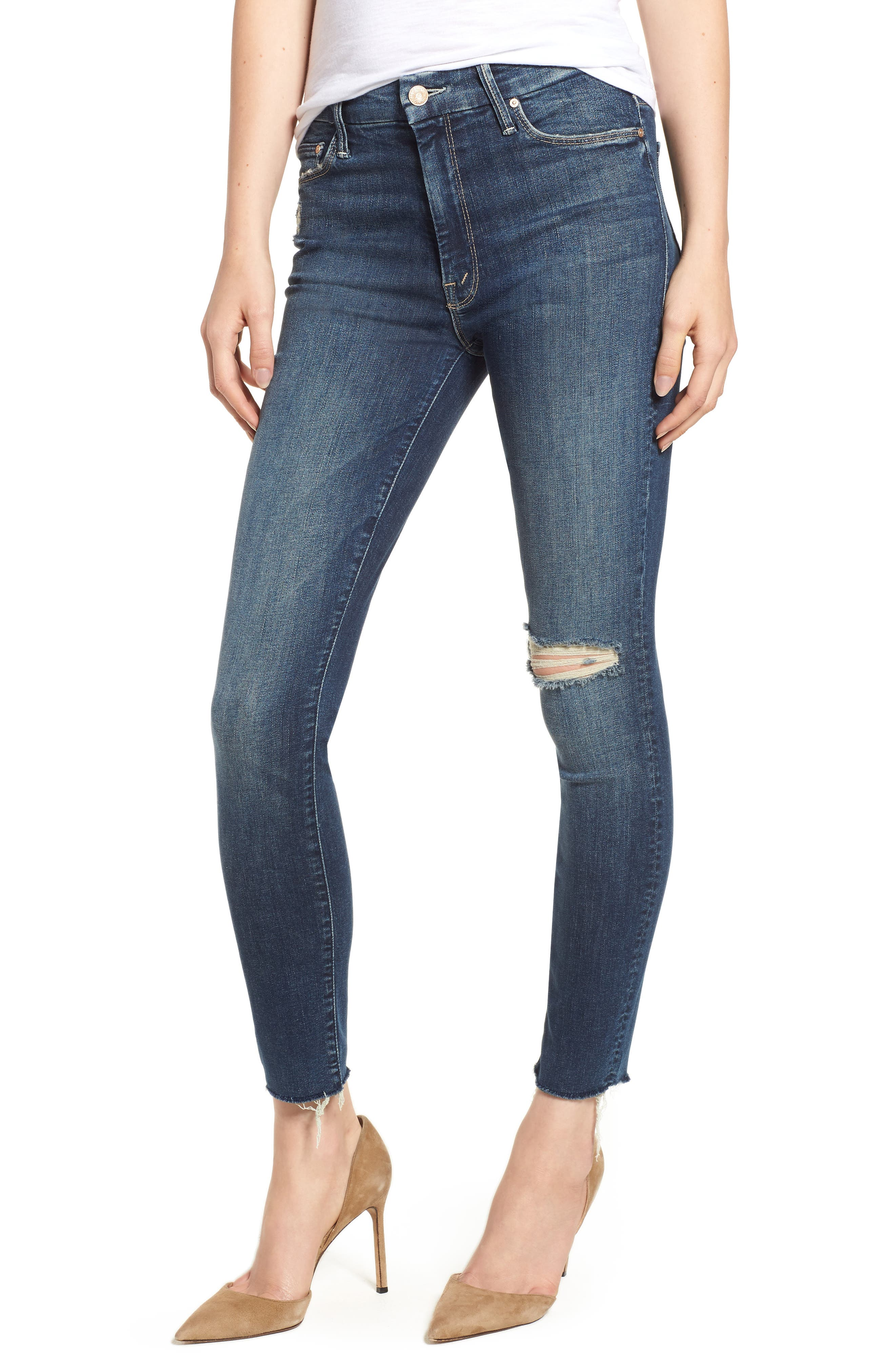 MOTHER, The Looker High Waist Frayed Ankle Skinny Jeans, Main thumbnail 1, color, CLOSE TO THE EDGE