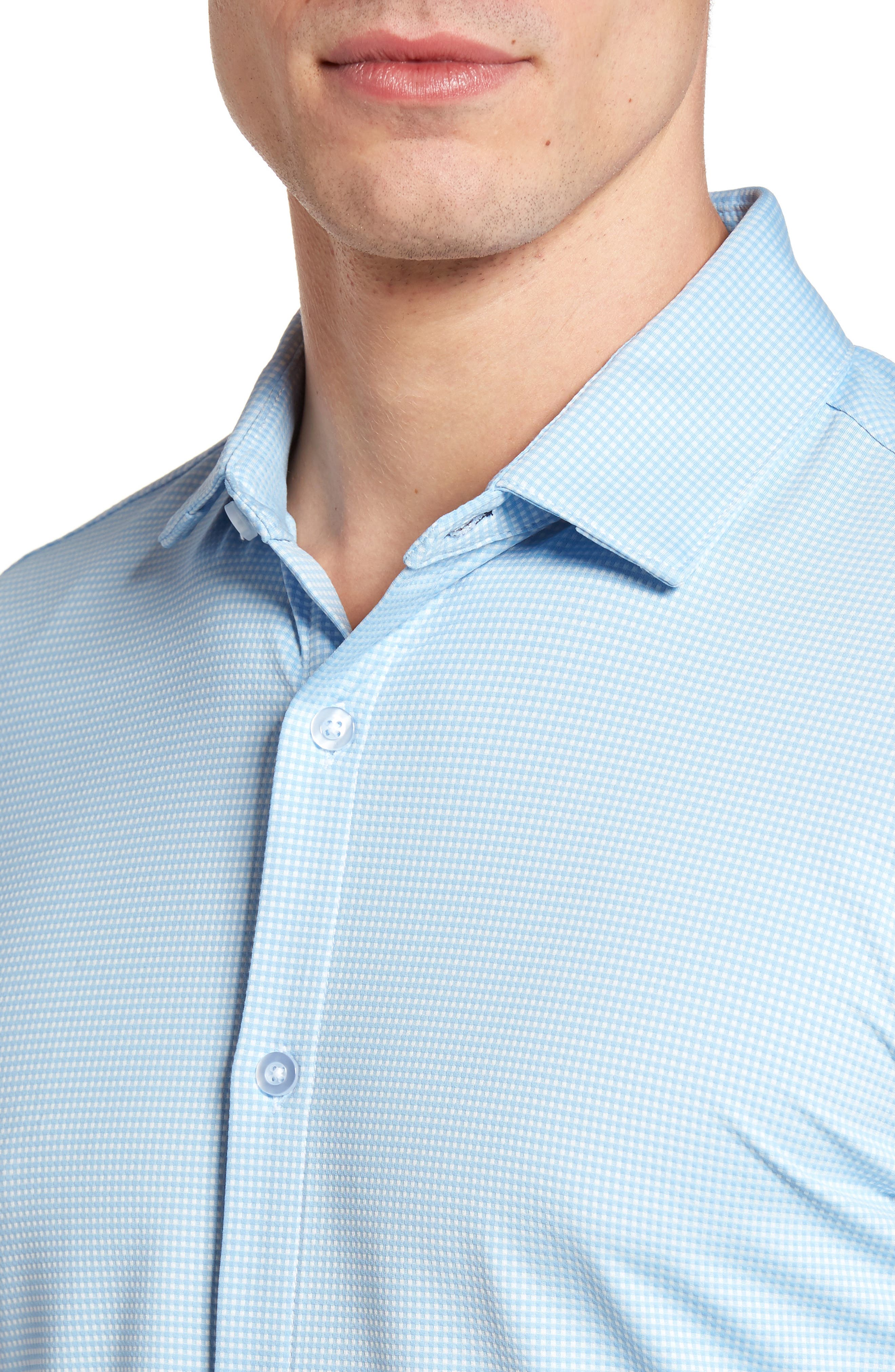 MIZZEN+MAIN, Whitman Trim Fit Dobby Gingham Performance Sport Shirt, Alternate thumbnail 4, color, BLUE