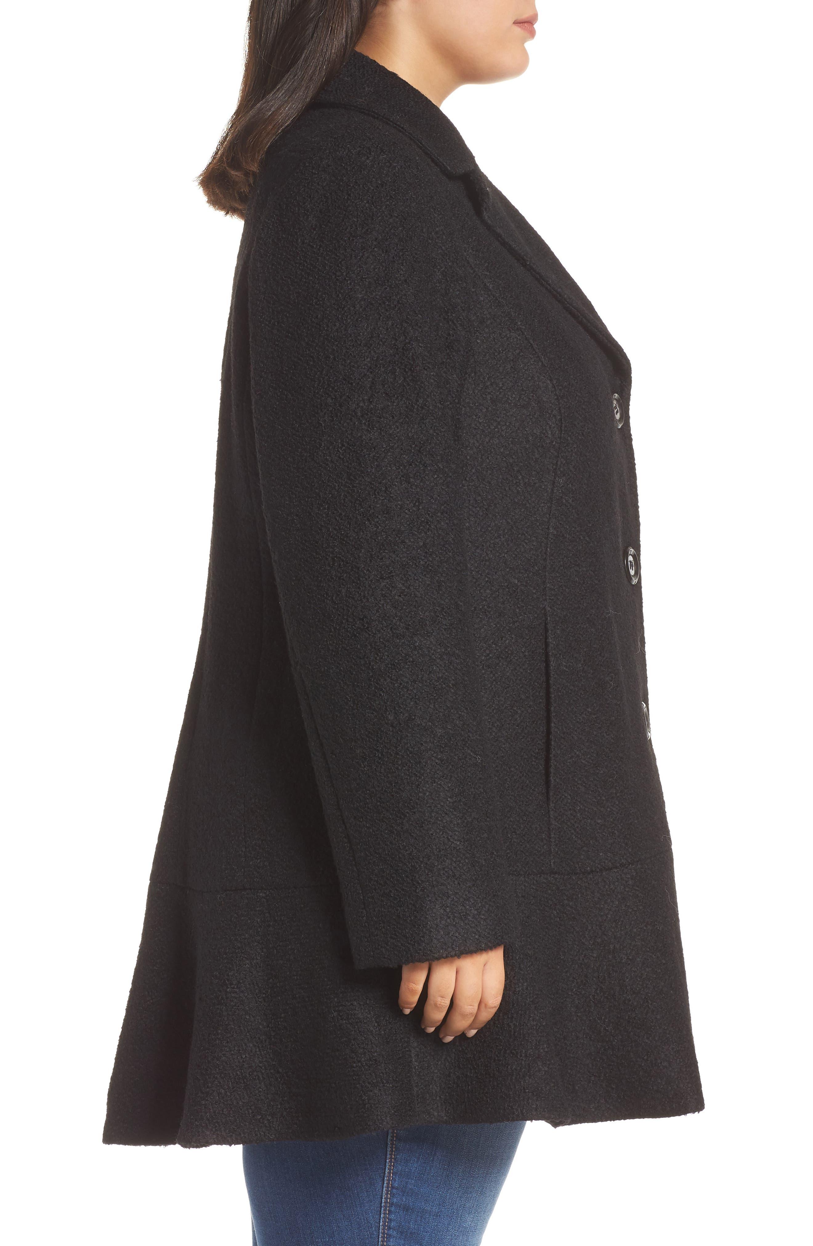 KENSIE, Notch Lapel Peplum Coat, Alternate thumbnail 4, color, BLACK