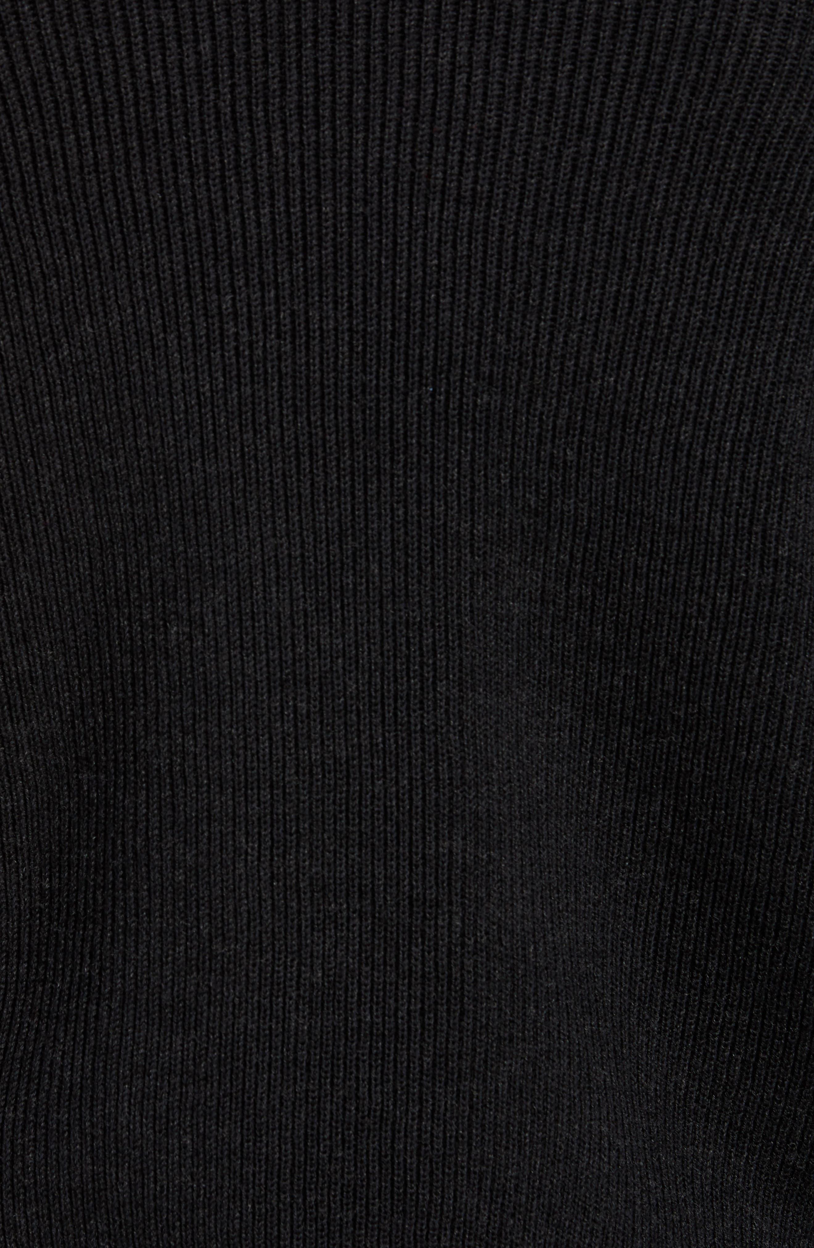 RAG & BONE, Andrew Zip Front Merino Wool Sweater, Alternate thumbnail 5, color, BLACK HEATHER