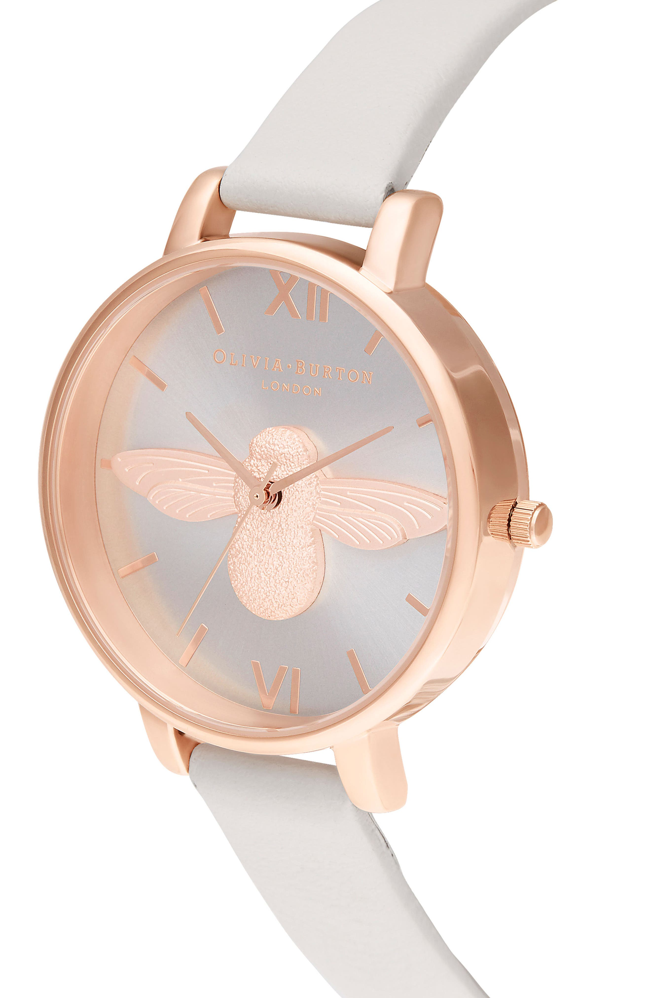 OLIVIA BURTON, 'Molded Bee' Leather Strap Watch, 38mm, Alternate thumbnail 4, color, BLUSH/ SUNRAY BEE/ ROSE GOLD
