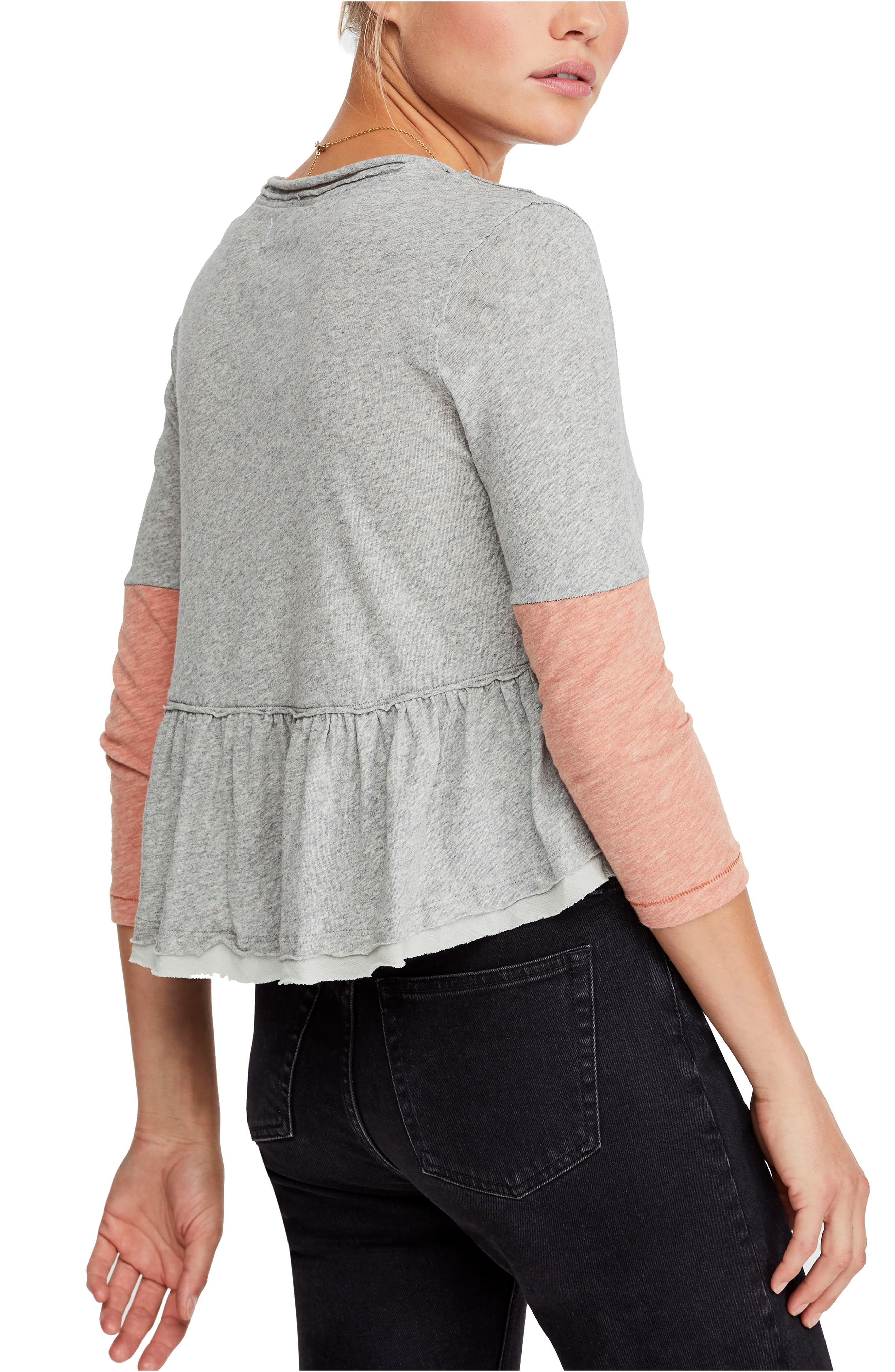 FREE PEOPLE, Heart of Mine Colorblock Cotton Top, Alternate thumbnail 2, color, 030