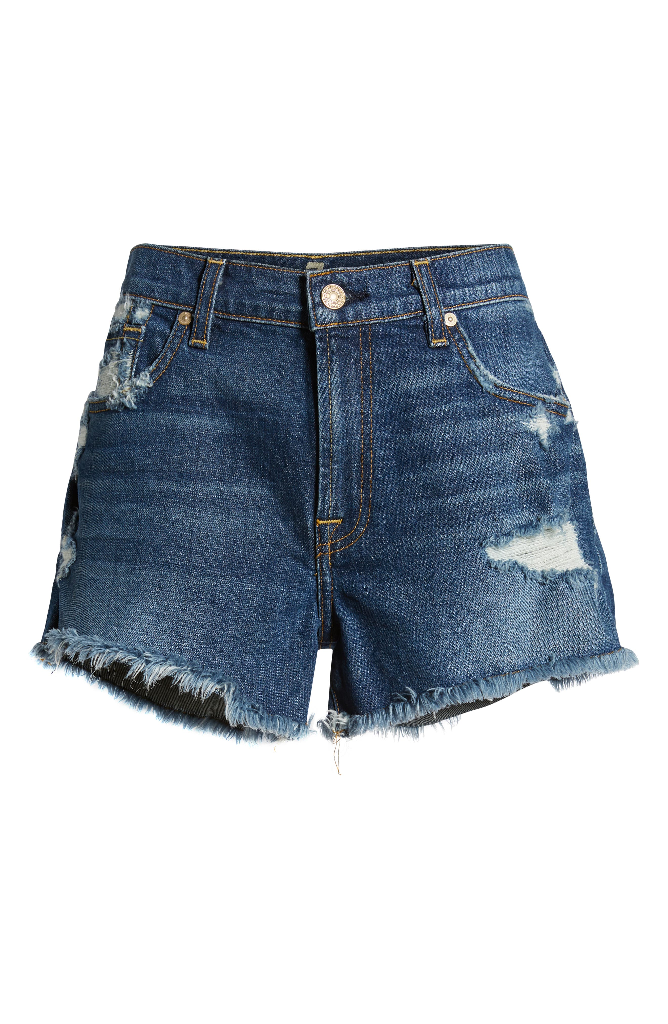 7 FOR ALL MANKIND<SUP>®</SUP>, High Waist Destroyed Cutoff Denim Shorts, Alternate thumbnail 7, color, BLUE MONDAY