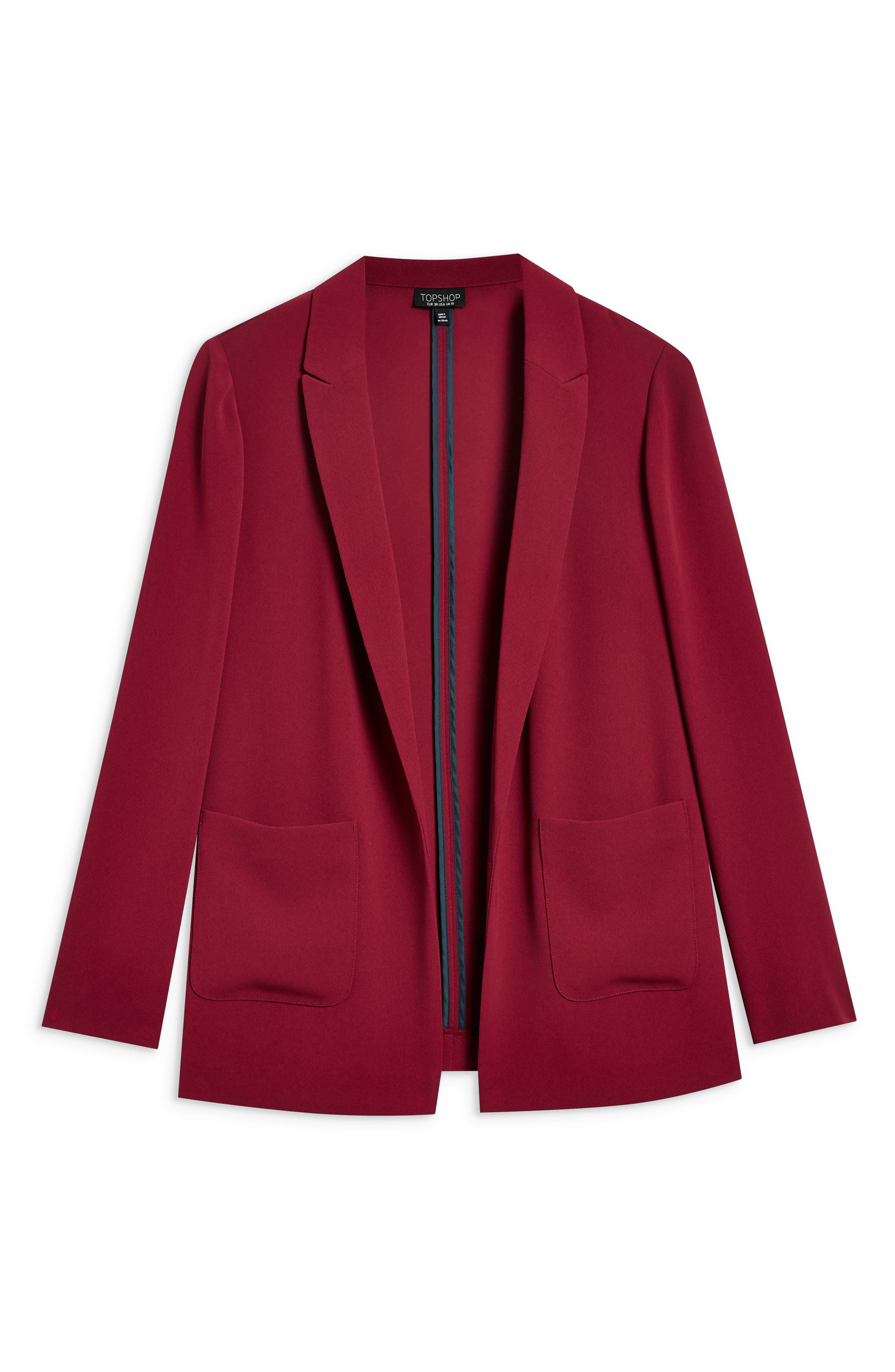 TOPSHOP, Chuck On Blazer, Alternate thumbnail 3, color, RED