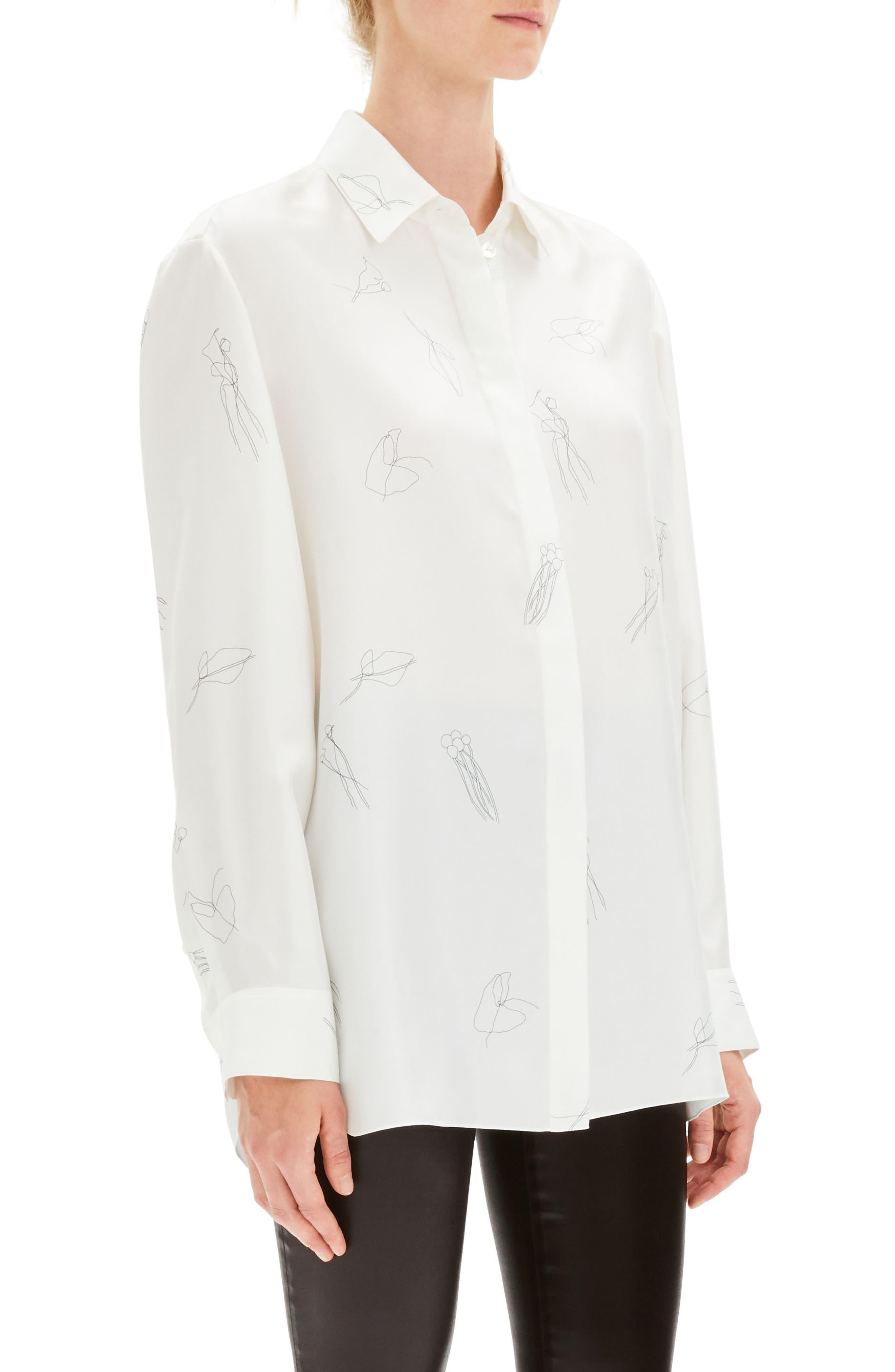 THEORY, Classic Menswear Silk Shirt, Alternate thumbnail 3, color, 199