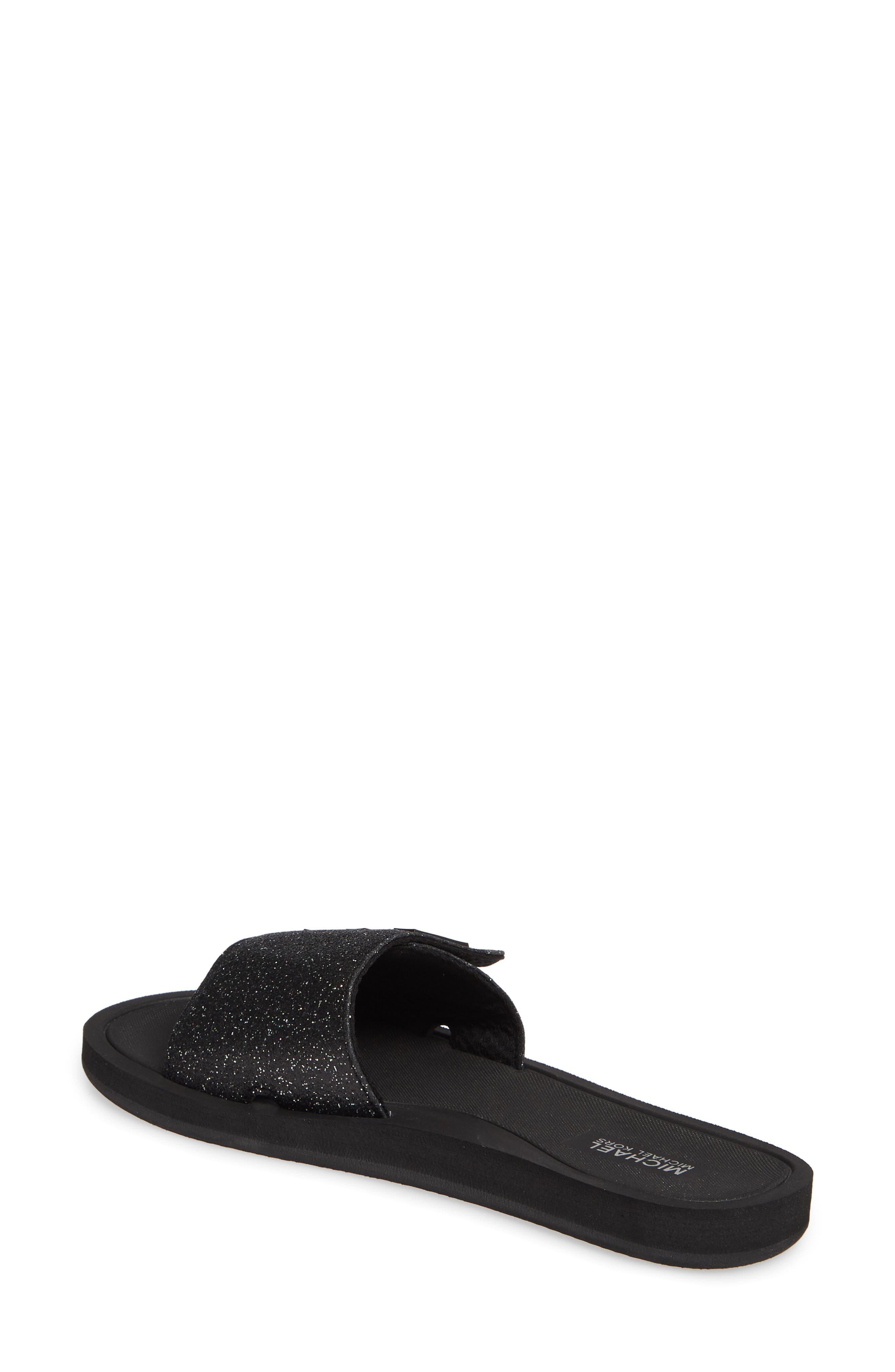 MICHAEL MICHAEL KORS, MK Logo Slide Sandal, Alternate thumbnail 2, color, BLACK GLITTER