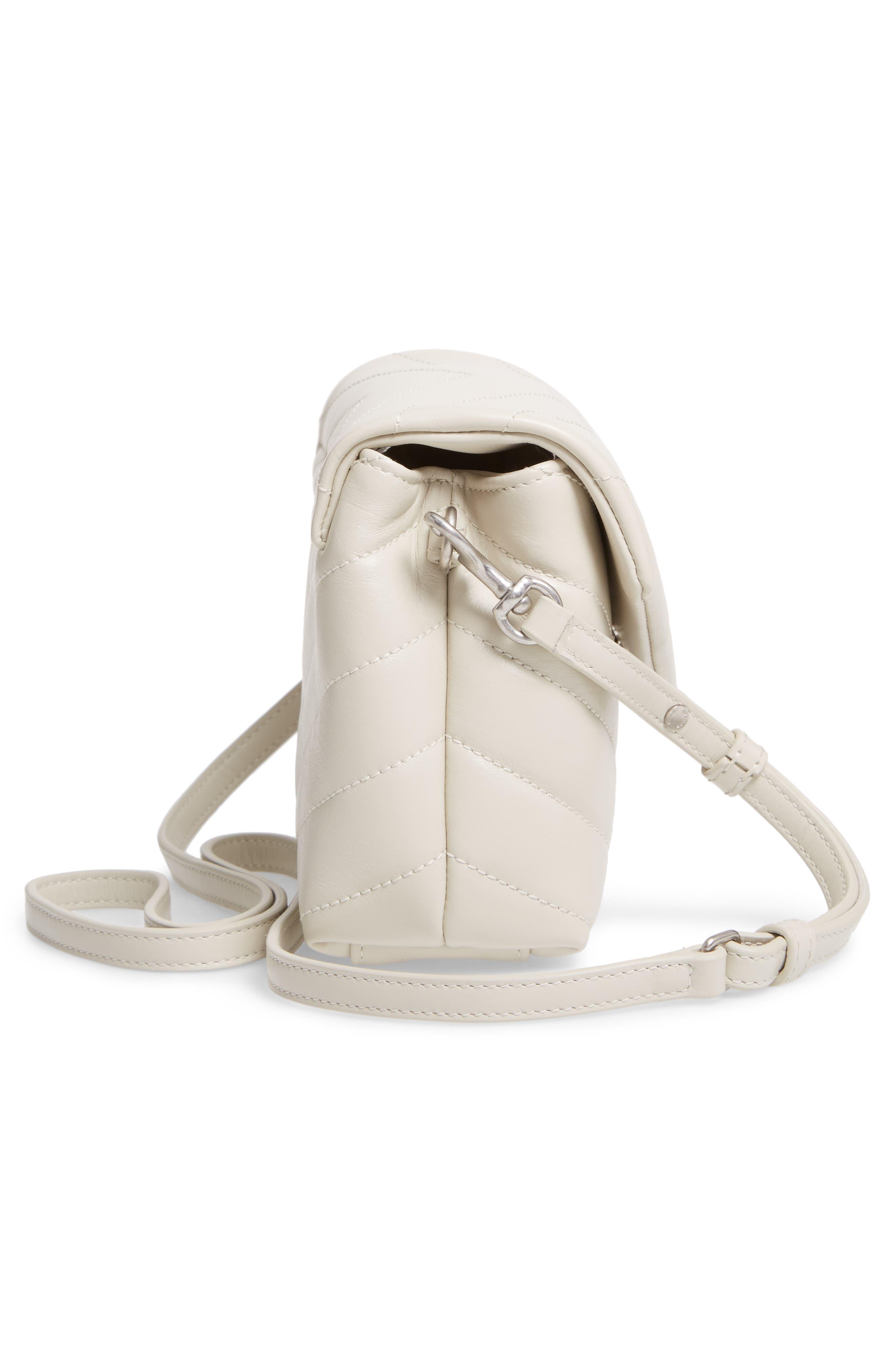 SAINT LAURENT, Toy Loulou Calfskin Leather Crossbody Bag, Alternate thumbnail 5, color, CREMA SOFT