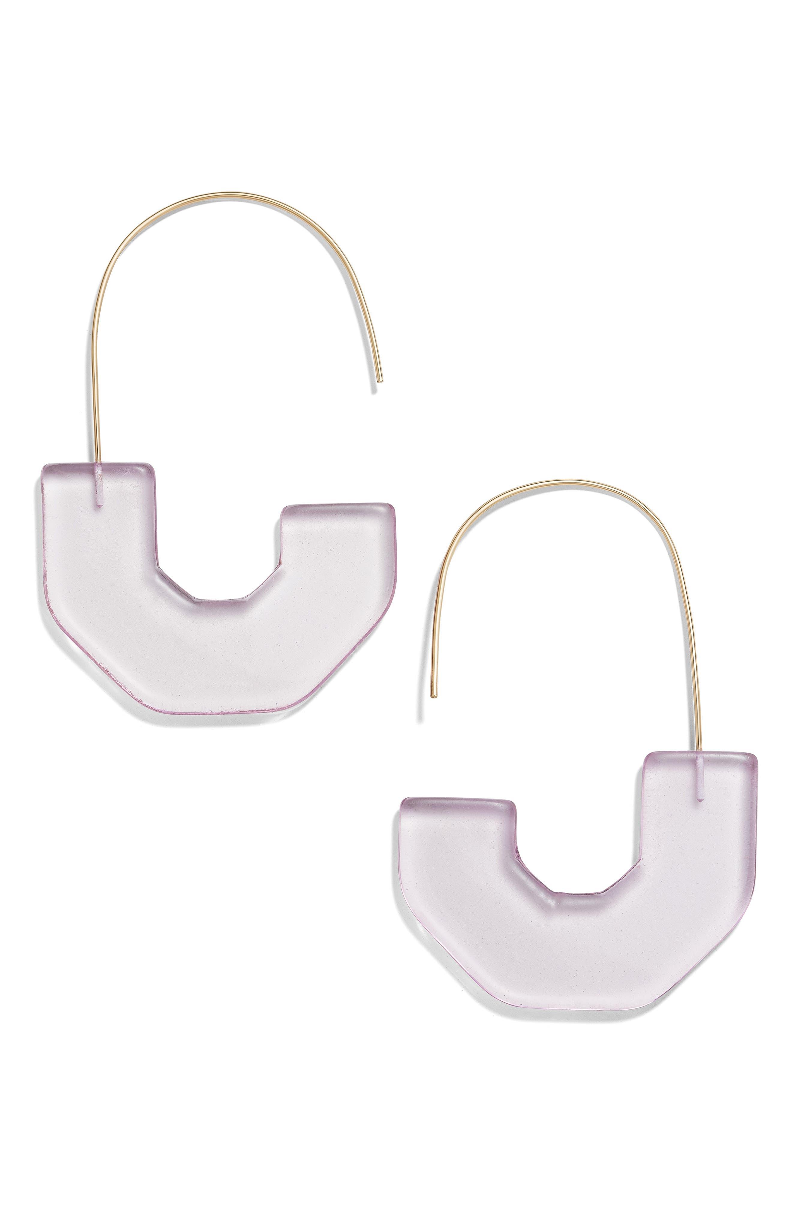 BAUBLEBAR, Faina Lucite<sup>®</sup> Threader Earrings, Main thumbnail 1, color, PURPLE
