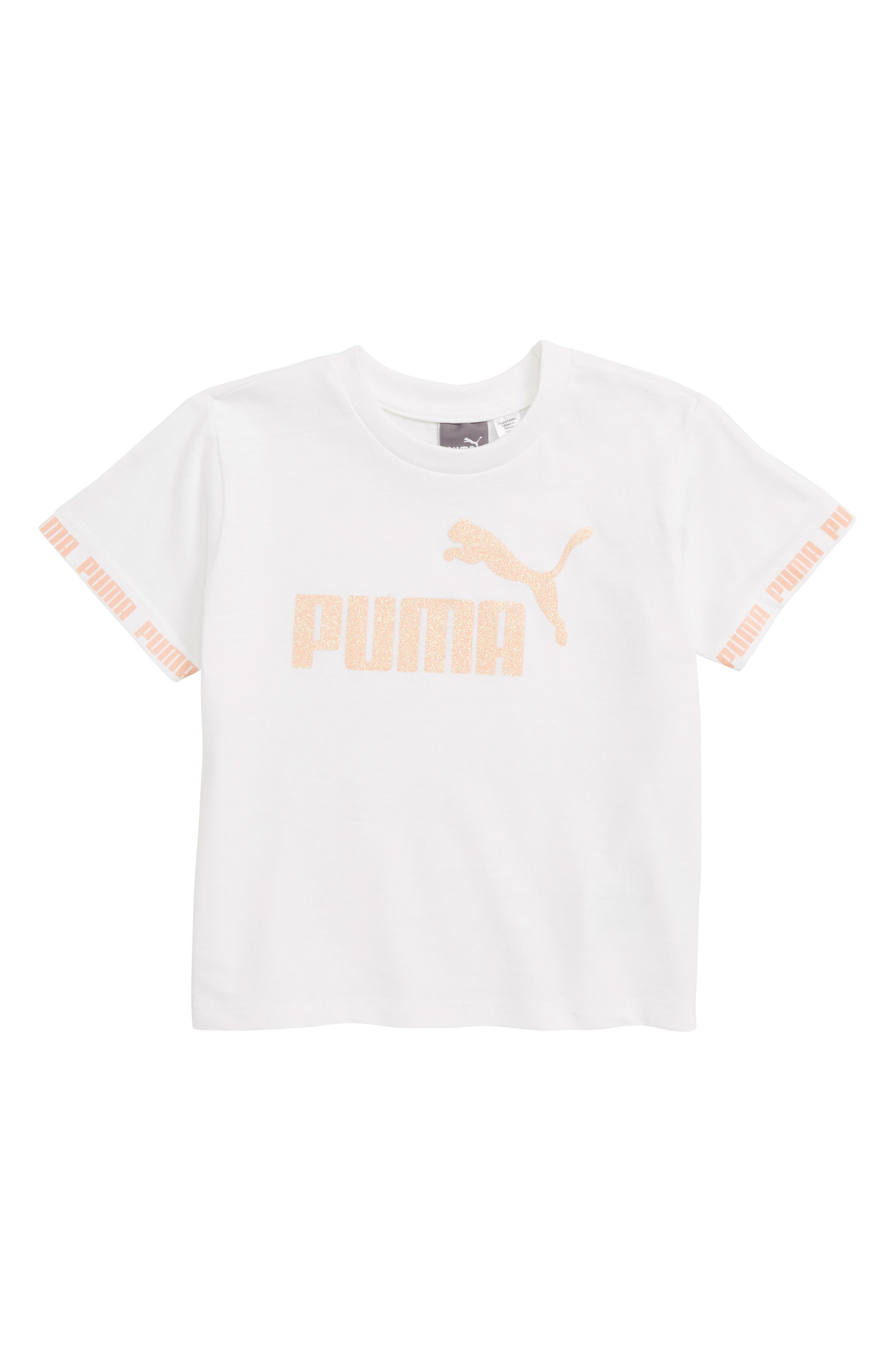 PUMA, Amplified Logo Tee, Main thumbnail 1, color, 100