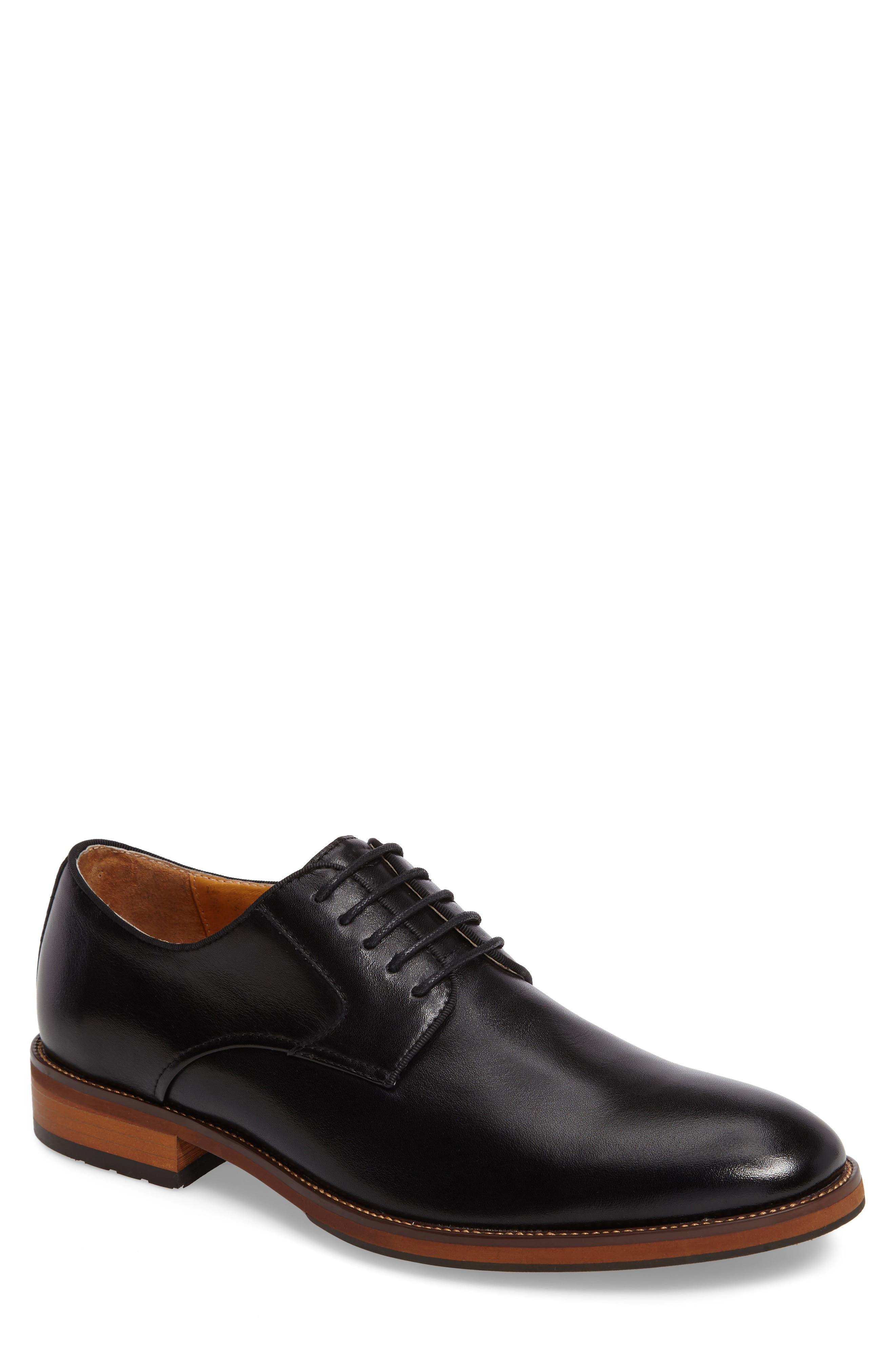 FLORSHEIM Blaze Plain Toe Derby, Main, color, BLACK LEATHER