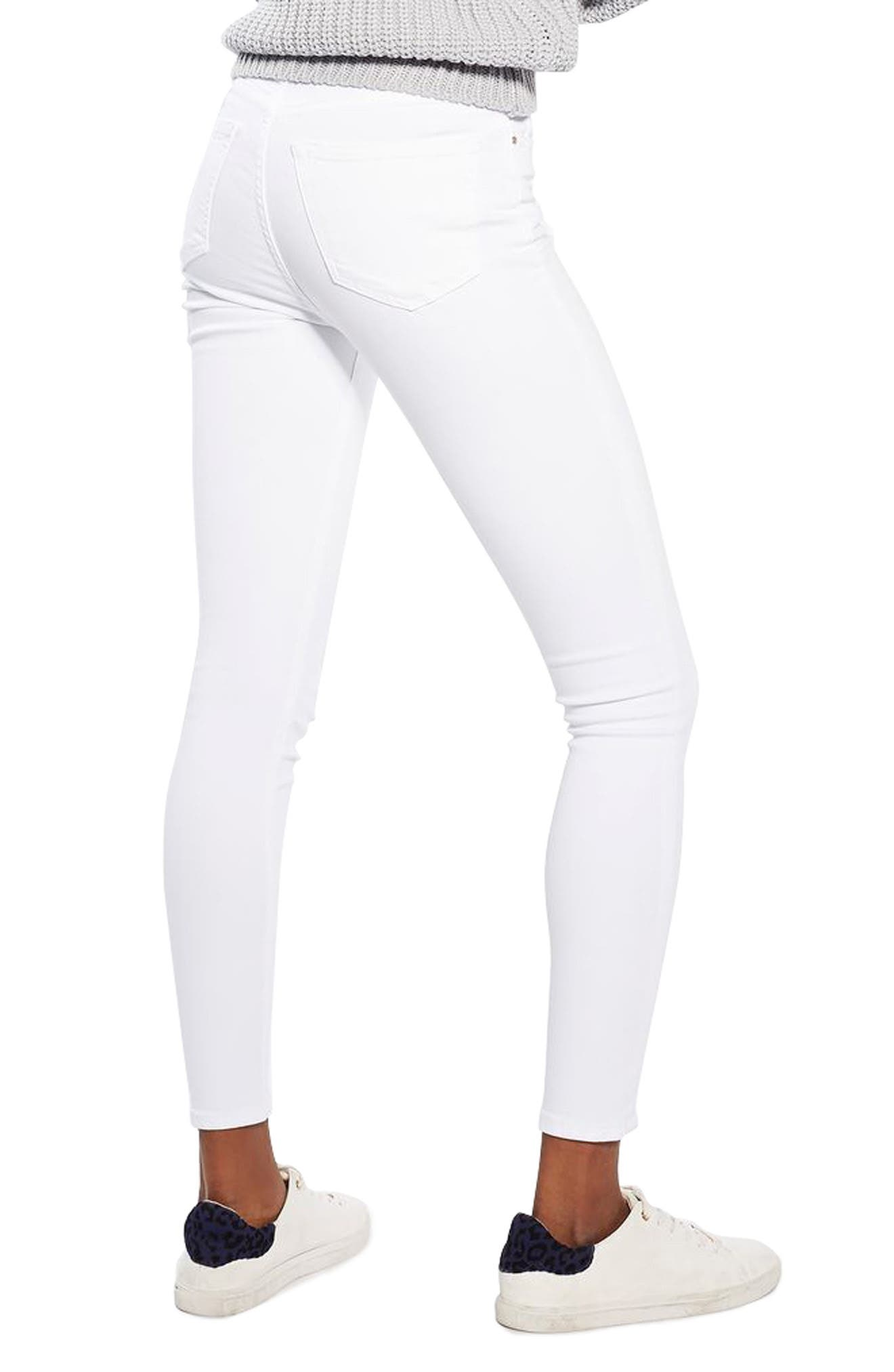 TOPSHOP, Jamie High Waist Ankle Skinny Jeans, Alternate thumbnail 2, color, WHITE