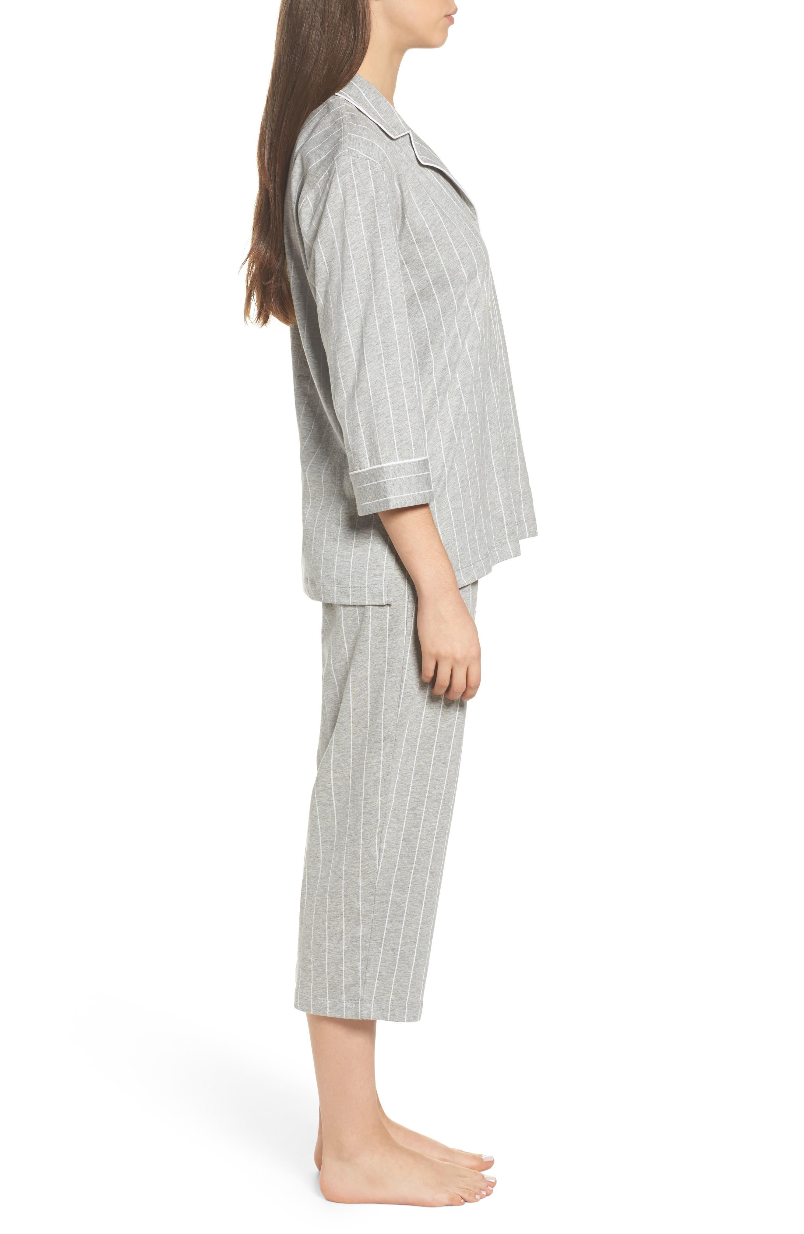 LAUREN RALPH LAUREN, Knit Crop Pajamas, Alternate thumbnail 3, color, GREYSTONE