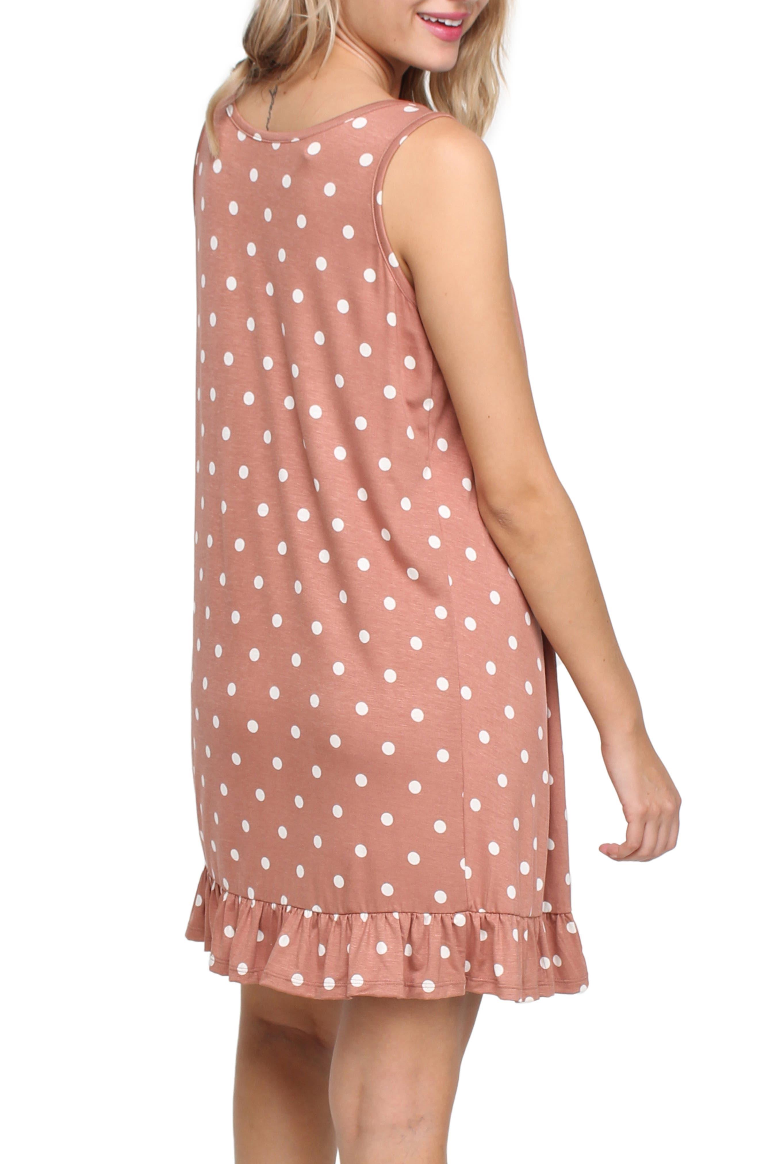 SAVI MOM, Paris Maternity/Nursing Nightgown, Alternate thumbnail 2, color, MAUVE POLKA DOT
