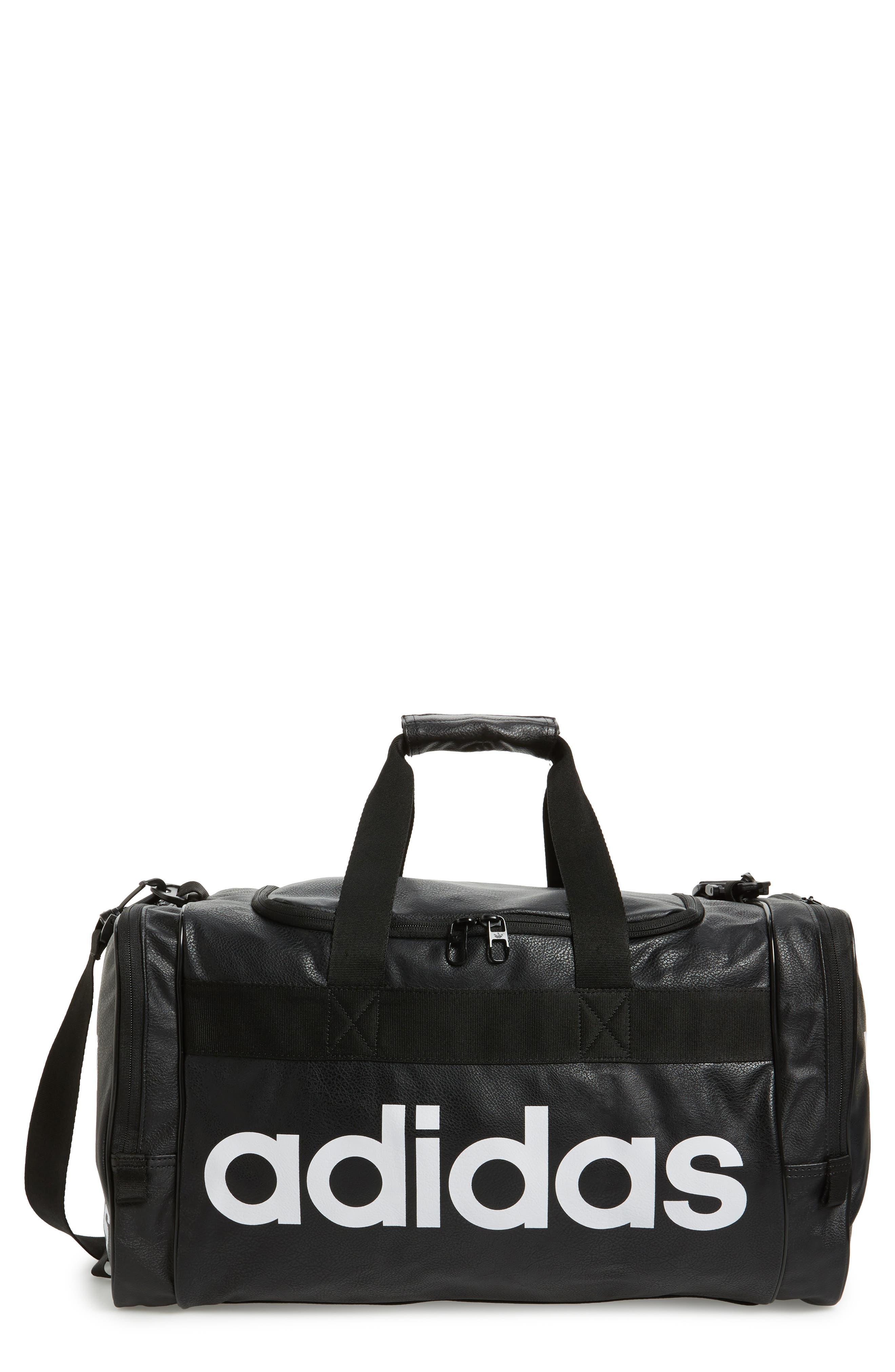 ADIDAS ORIGINALS, Santiago Duffle Bag, Main thumbnail 1, color, BLACK/ CHALK WHITE