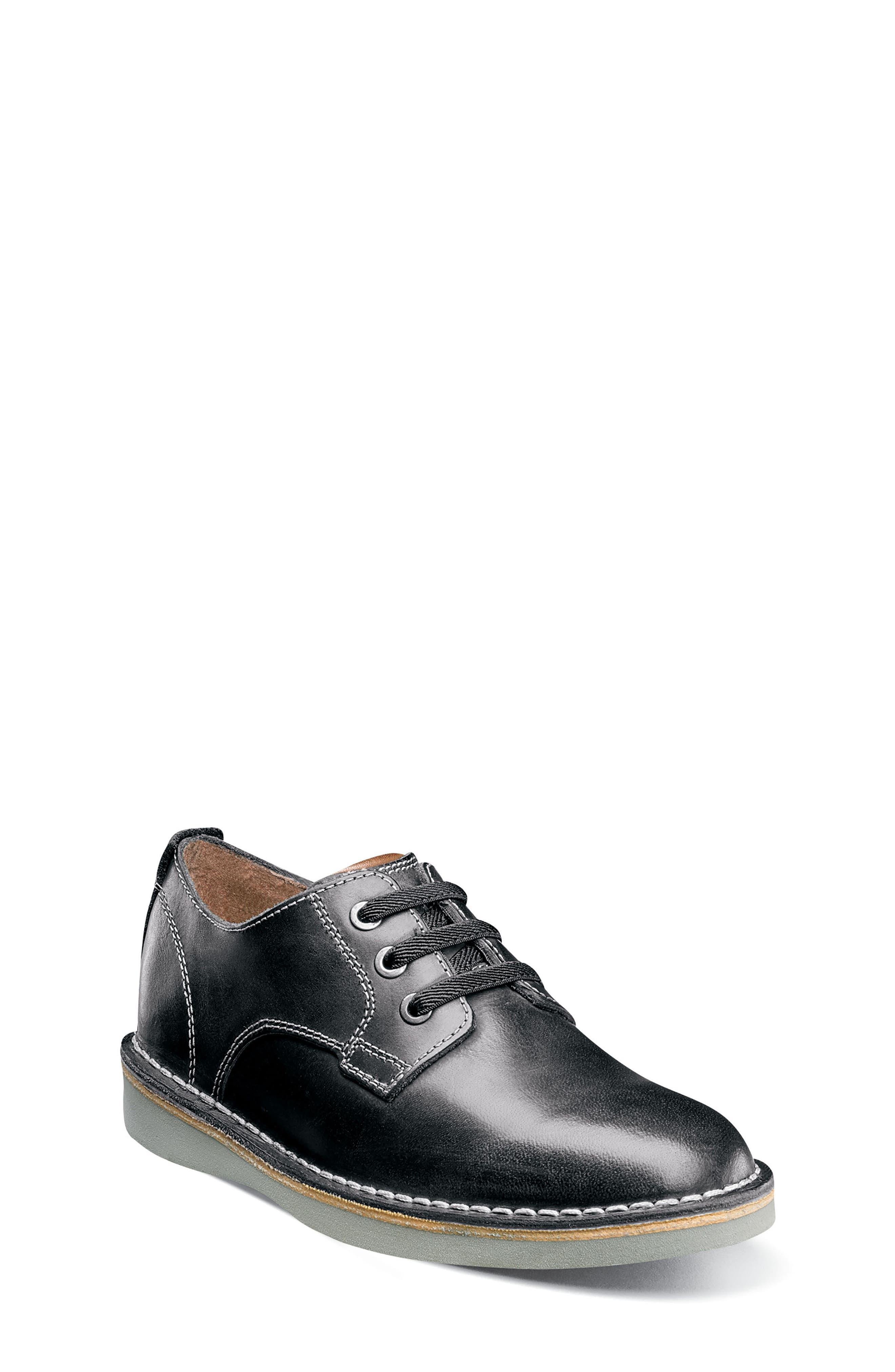 FLORSHEIM, Navigator JR Plain Toe Oxford, Main thumbnail 1, color, BLACK LEATHER