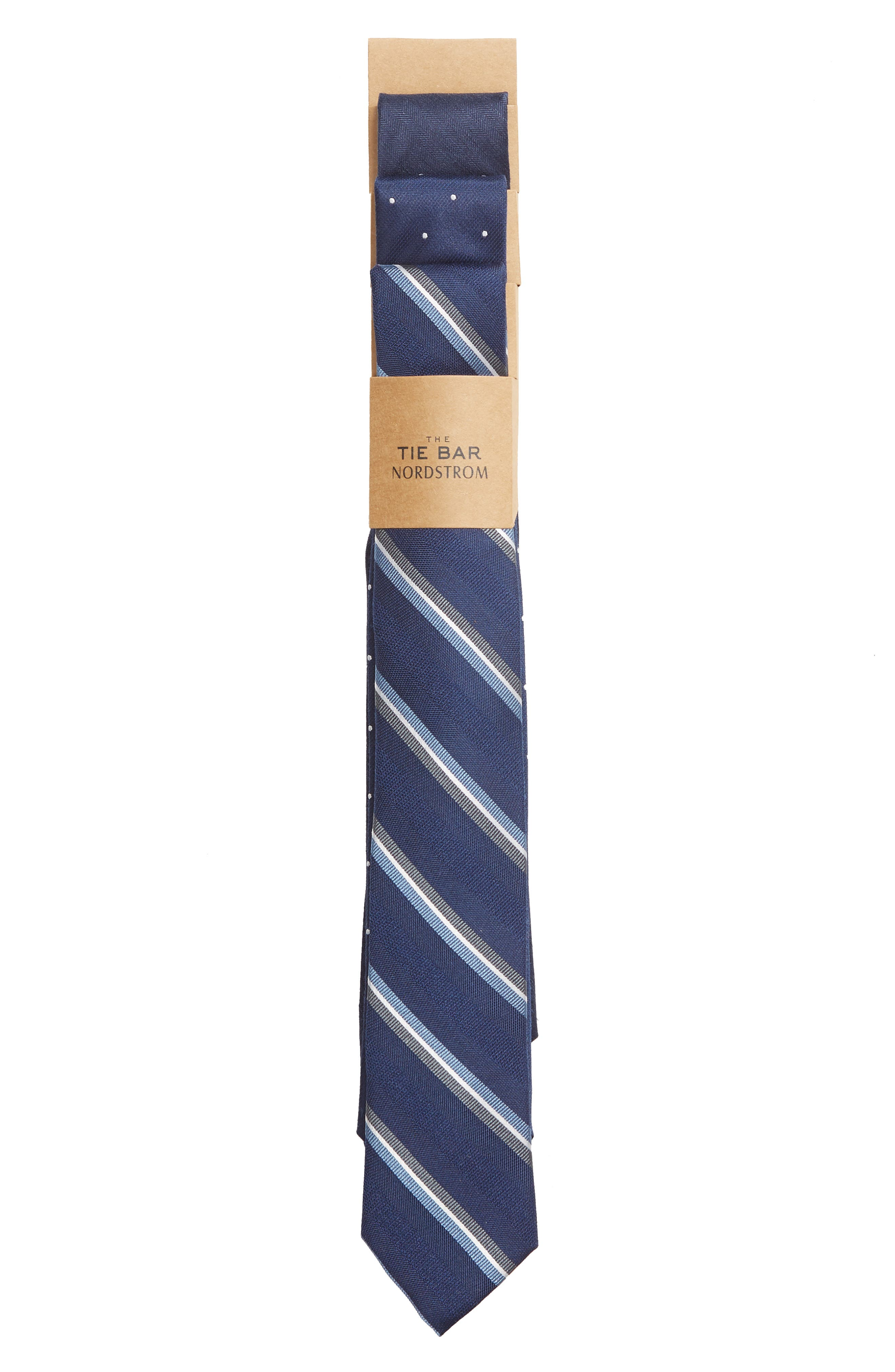 THE TIE BAR, 3-Pack Navy Tie Set, Alternate thumbnail 2, color, NAVY