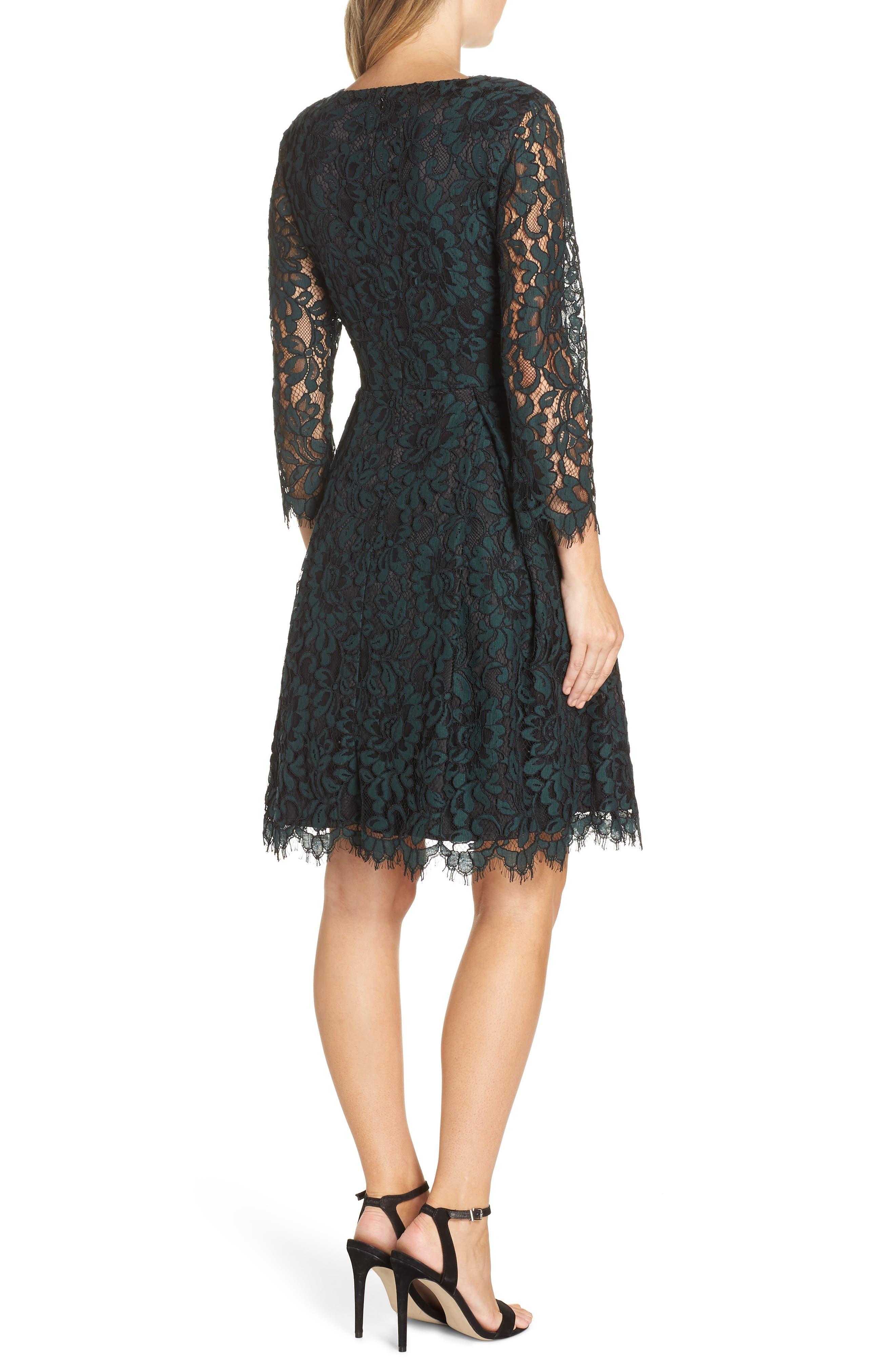ELIZA J, Lace V-Neck Fit & Flare Dress, Alternate thumbnail 2, color, 310