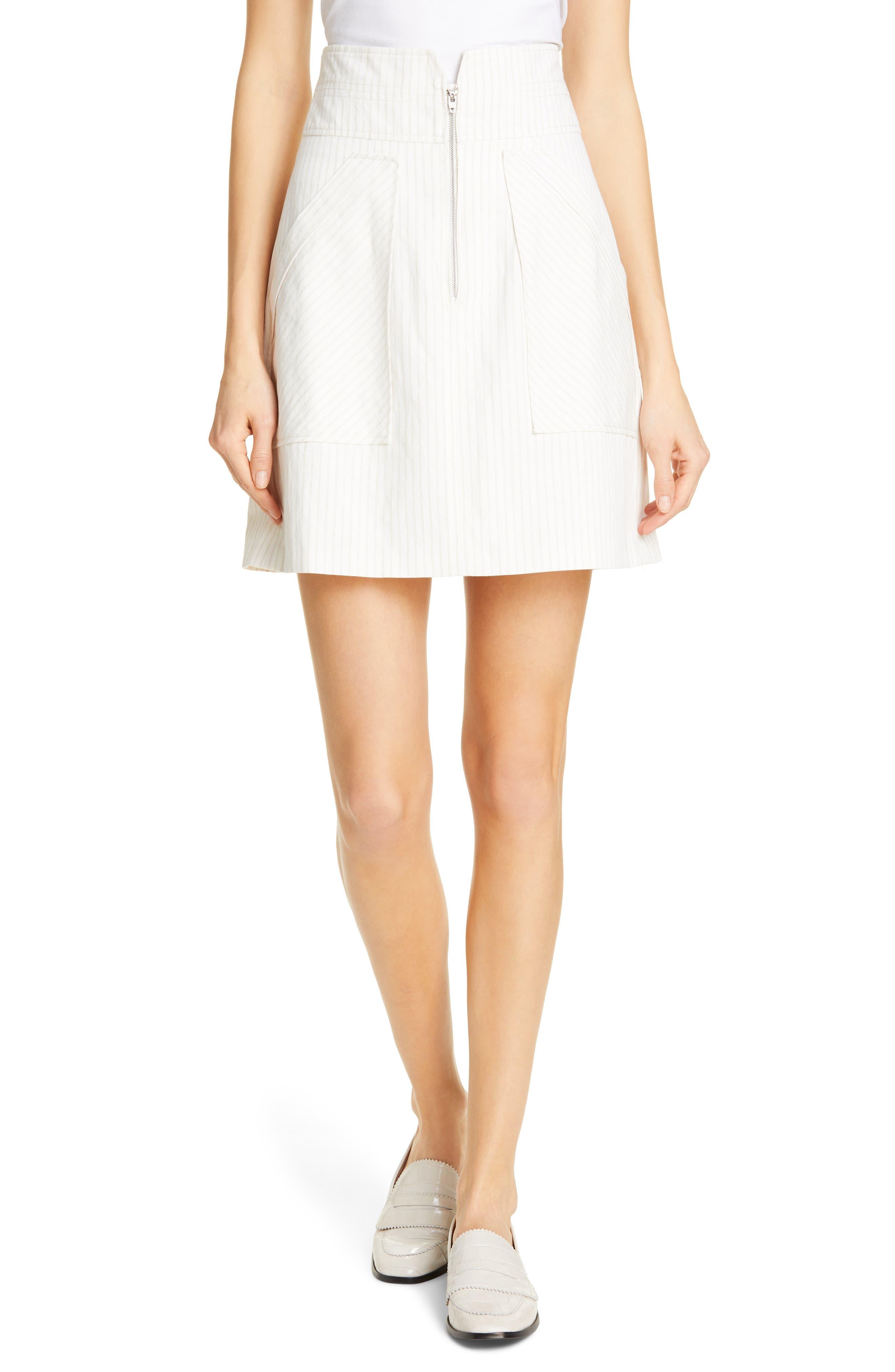REBECCA TAYLOR, Zip Front Pinstripe Cotton & Linen Skirt, Main thumbnail 1, color, SNOW COMBO