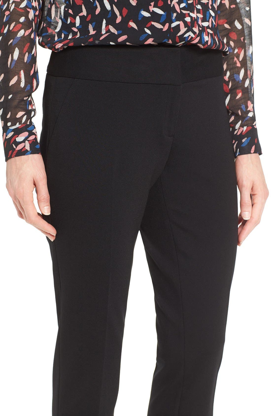 VINCE CAMUTO, Ponte Ankle Pants, Alternate thumbnail 5, color, BLACK