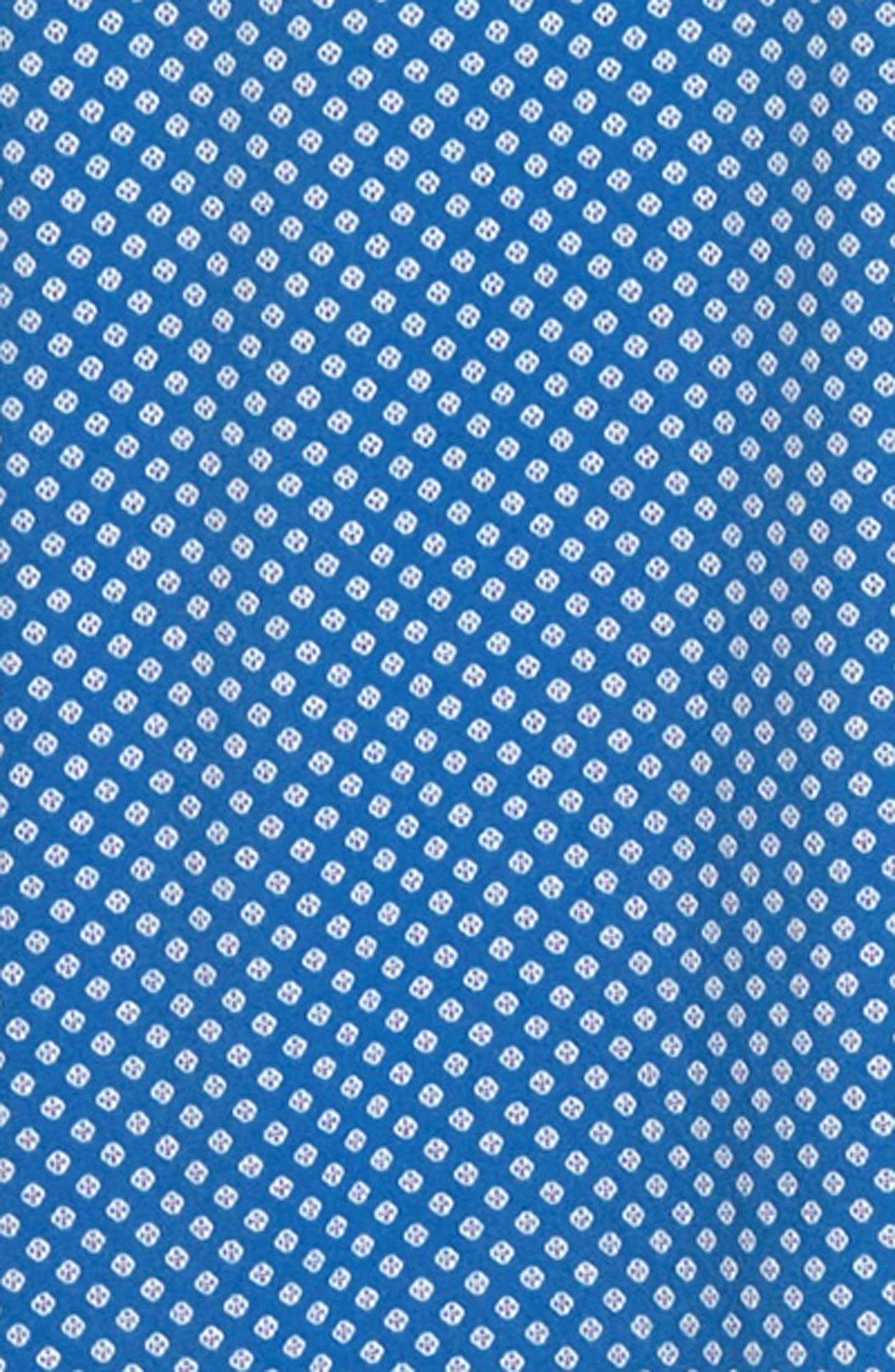 BUGATCHI, Shaped Fit Print Performance Sport Shirt, Alternate thumbnail 6, color, NAVY