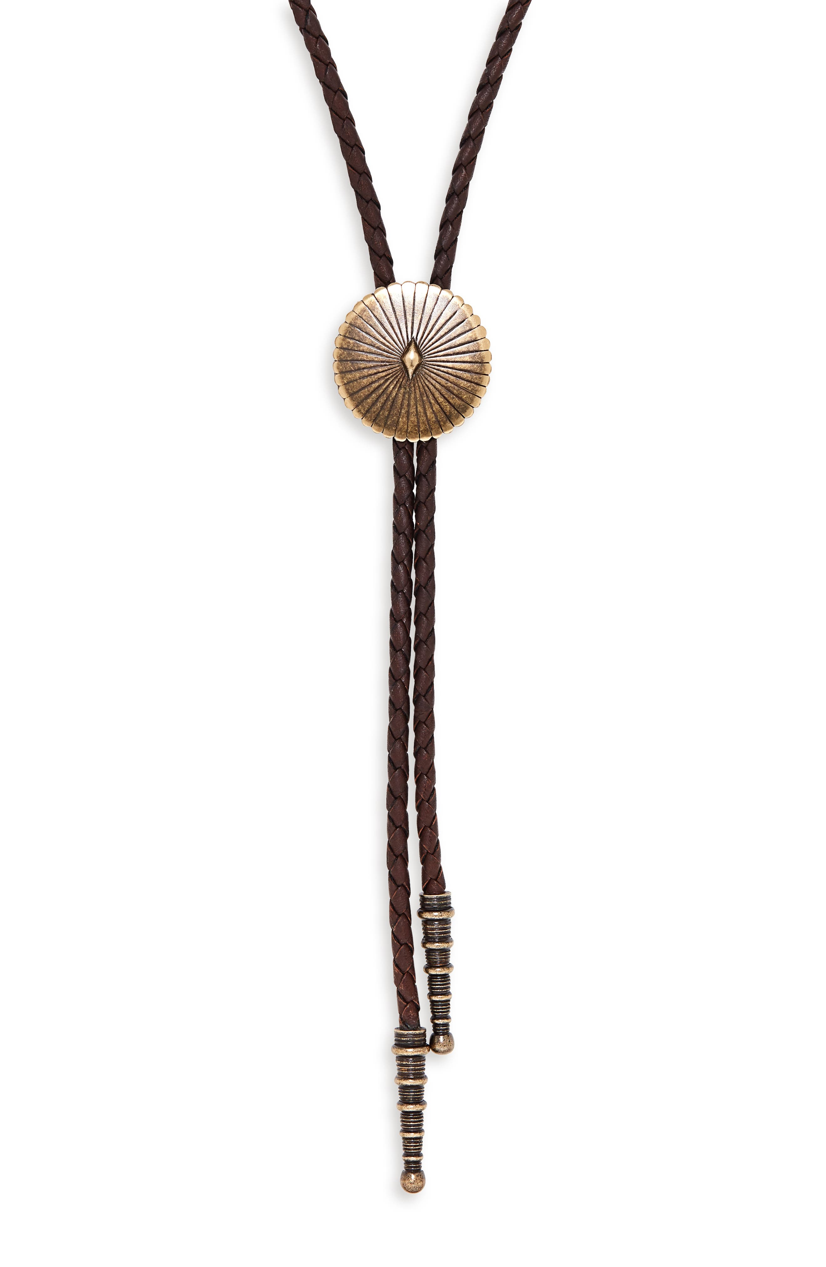 SAINT LAURENT Concho Bolo Necklace, Main, color, 200