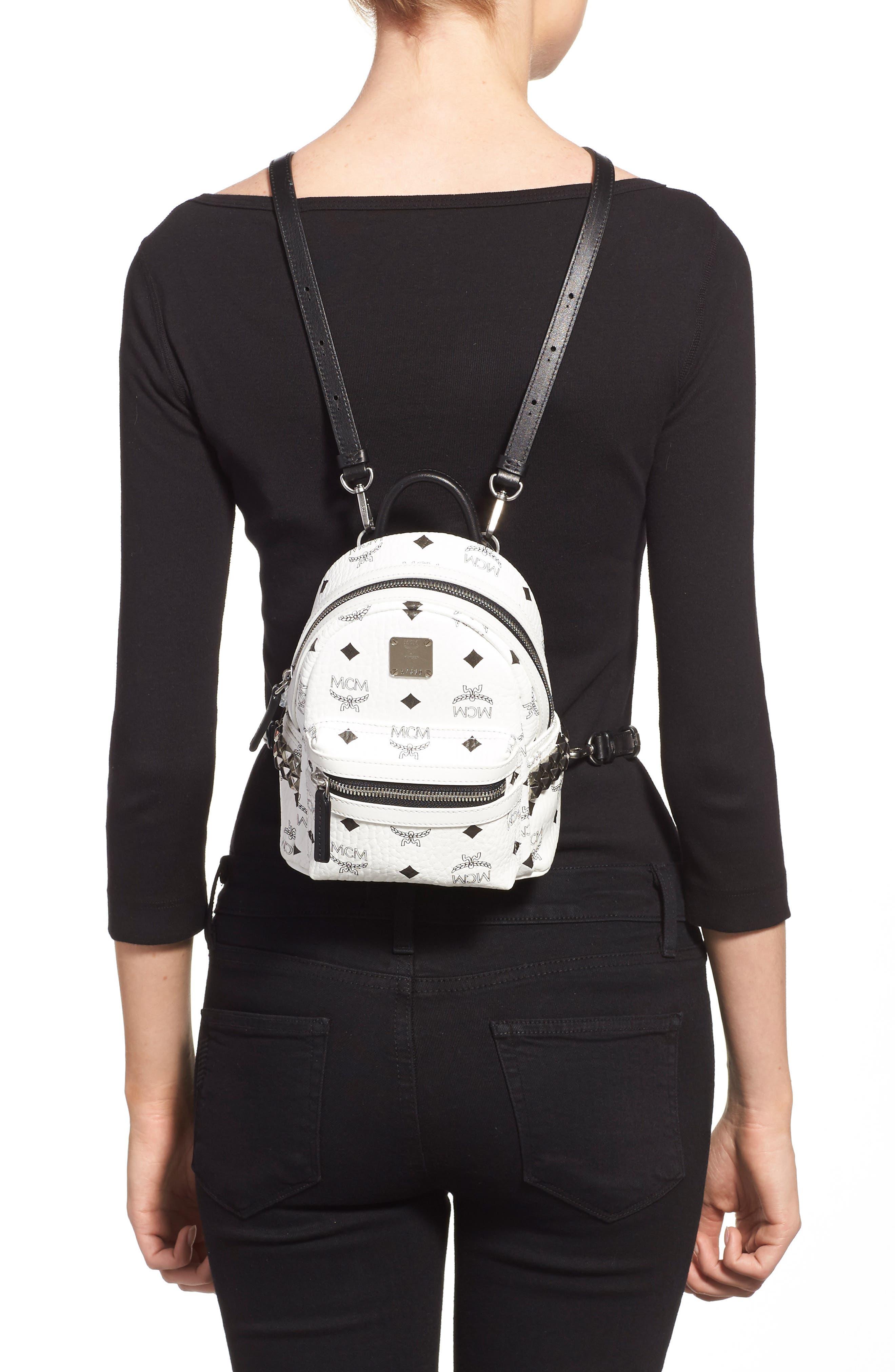 MCM, 'X-Mini Stark Side Stud' Convertible Backpack, Alternate thumbnail 5, color, WHITE