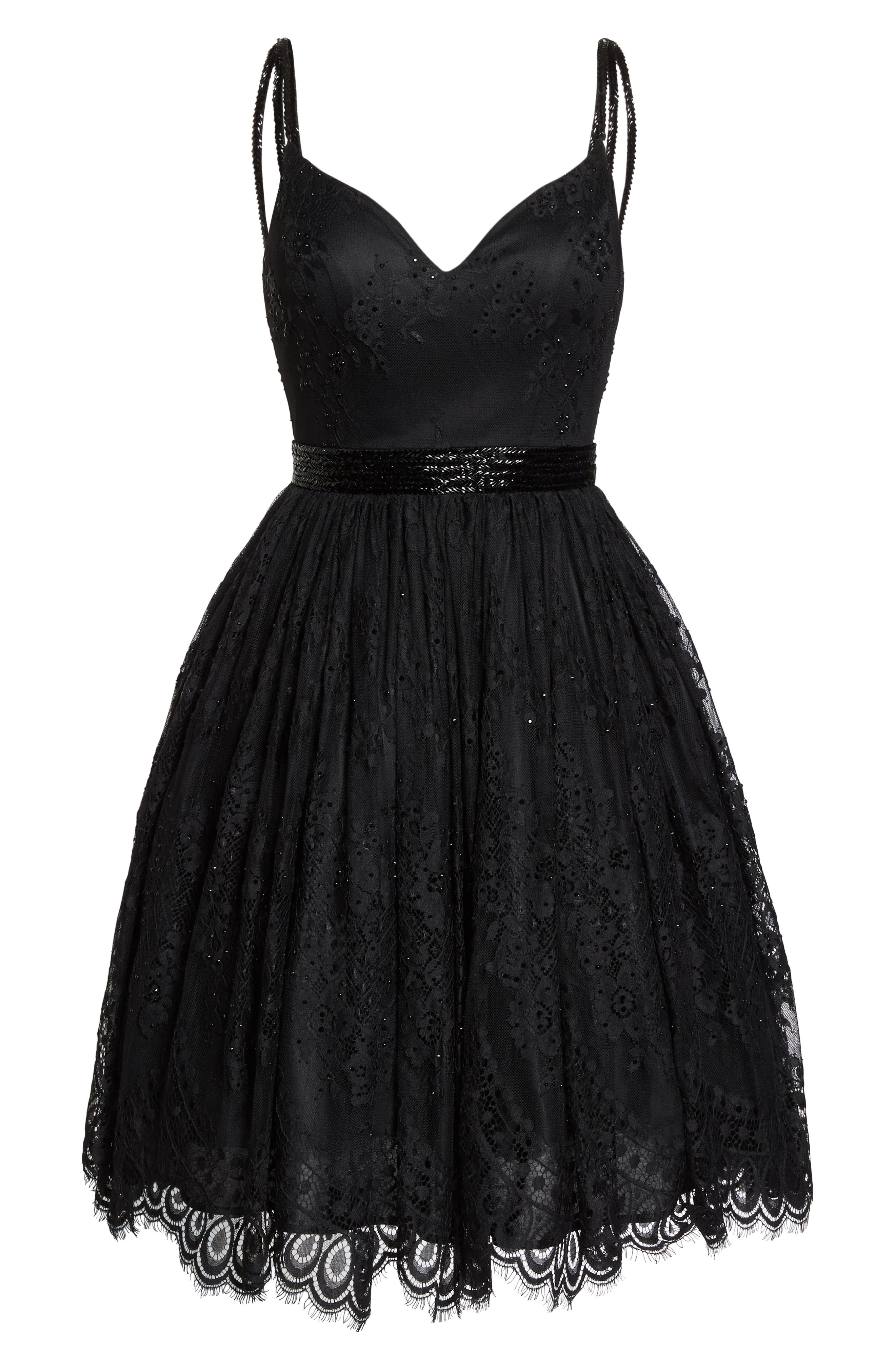 MAC DUGGAL, Sweetheart Neck Lace Party Dress, Alternate thumbnail 7, color, BLACK