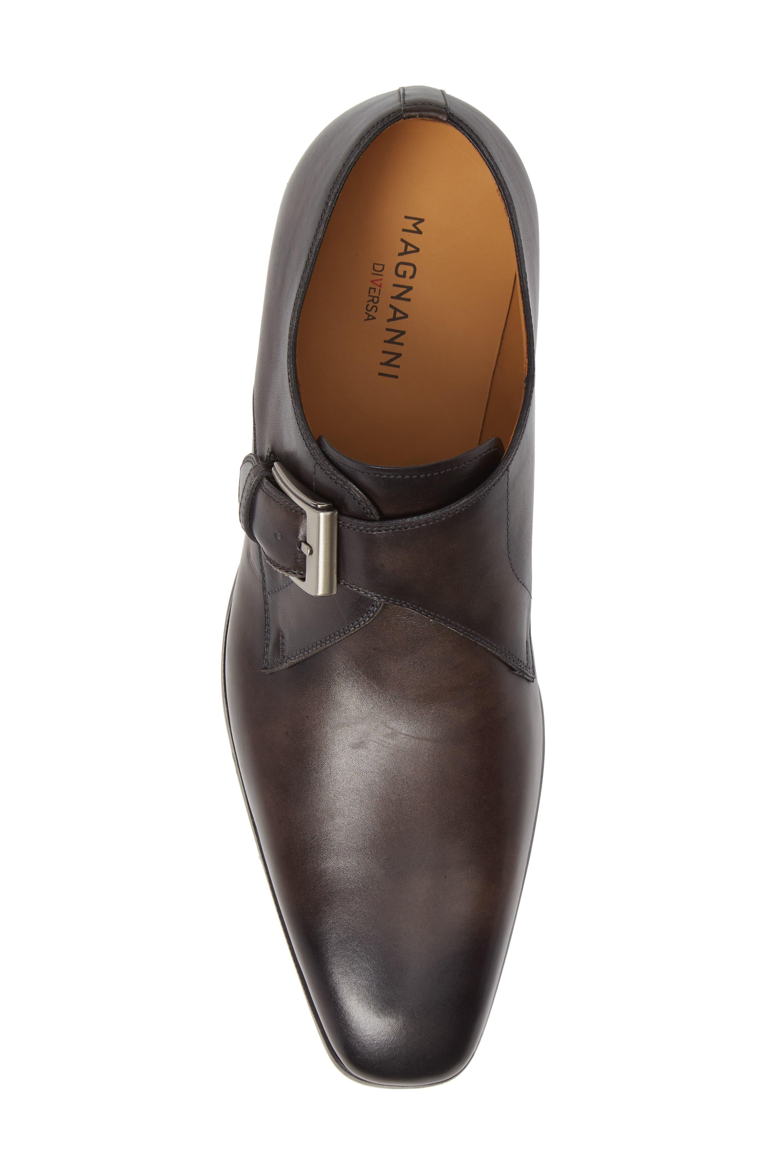 MAGNANNI, Roddy Diversa Plain Toe Monk Strap Shoe, Alternate thumbnail 5, color, GREY LEATHER