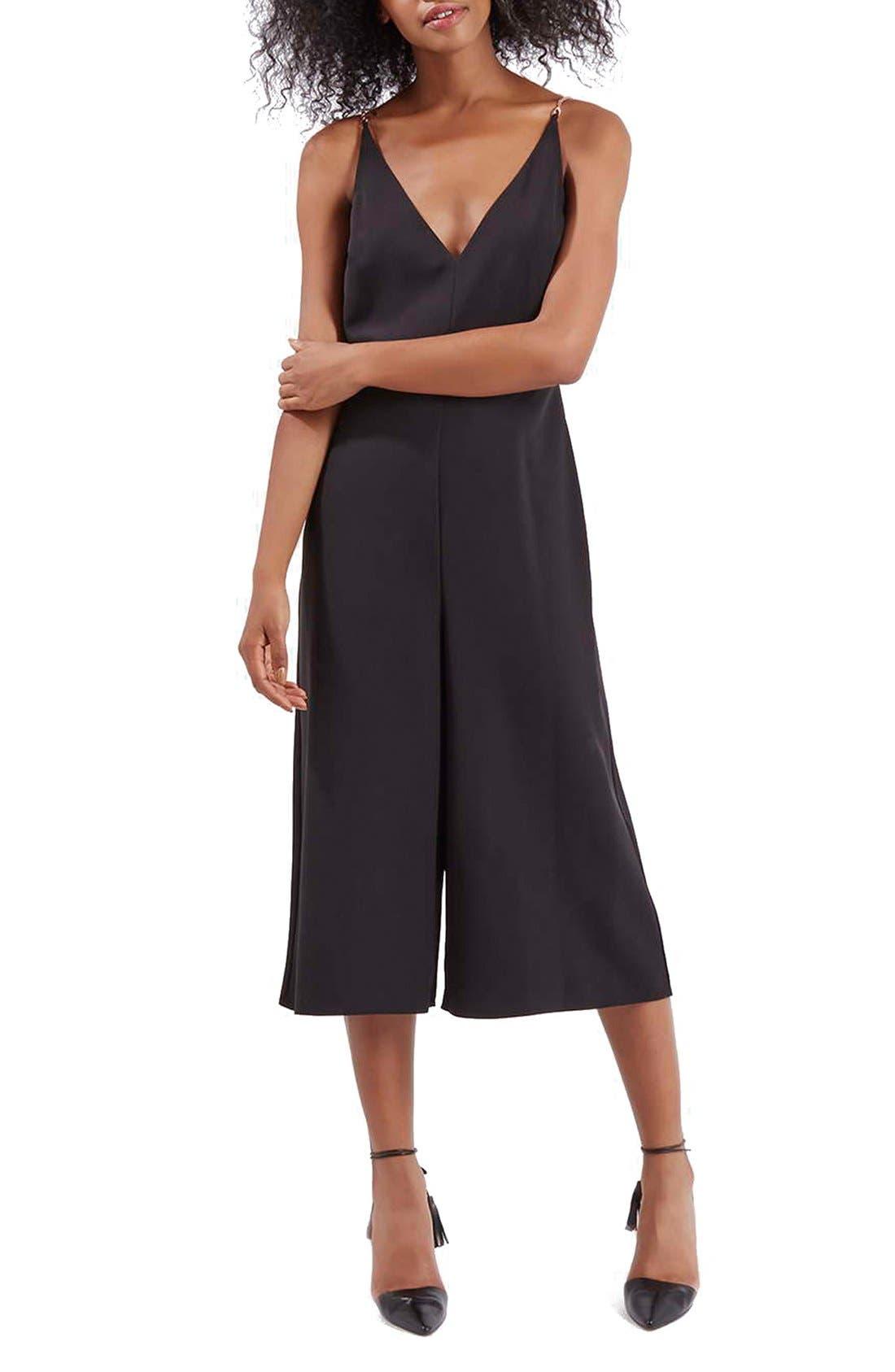TOPSHOP V-Neck Culotte Jumpsuit, Main, color, 001