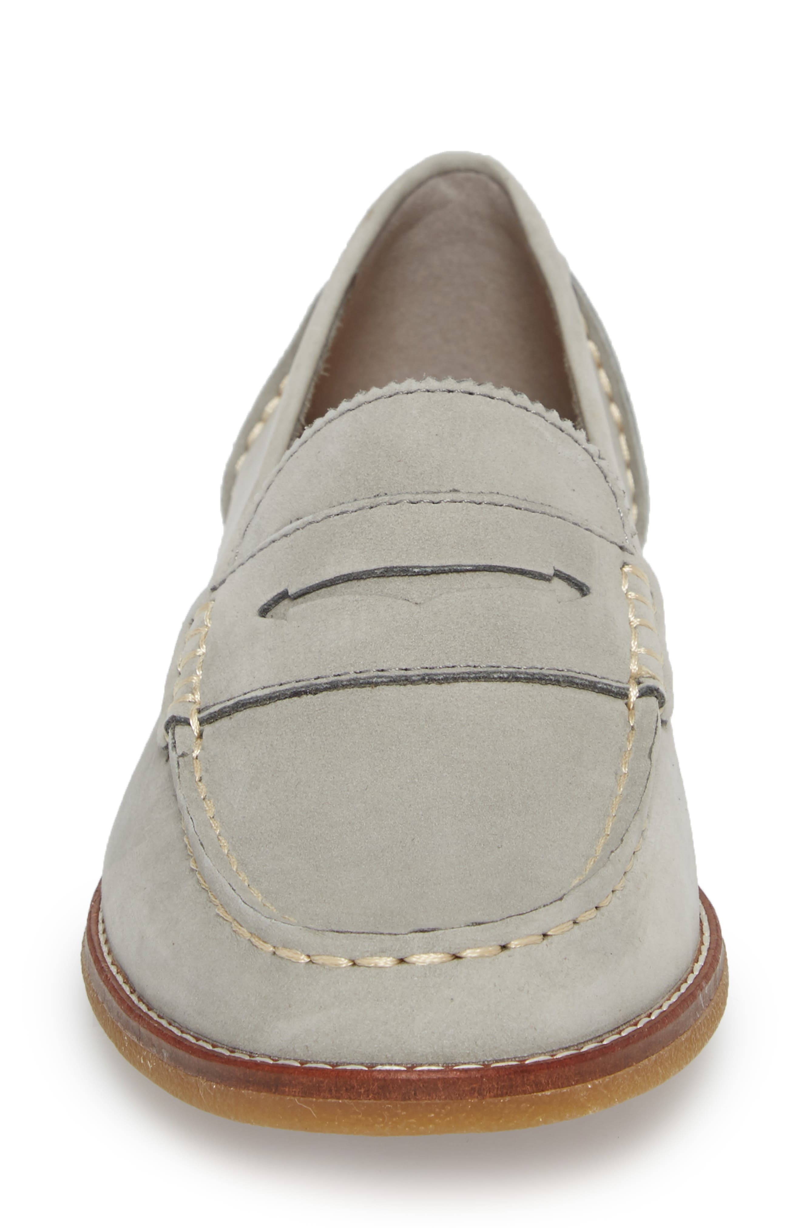 SPERRY, Seaport Penny Loafer, Alternate thumbnail 4, color, GREY LEATHER
